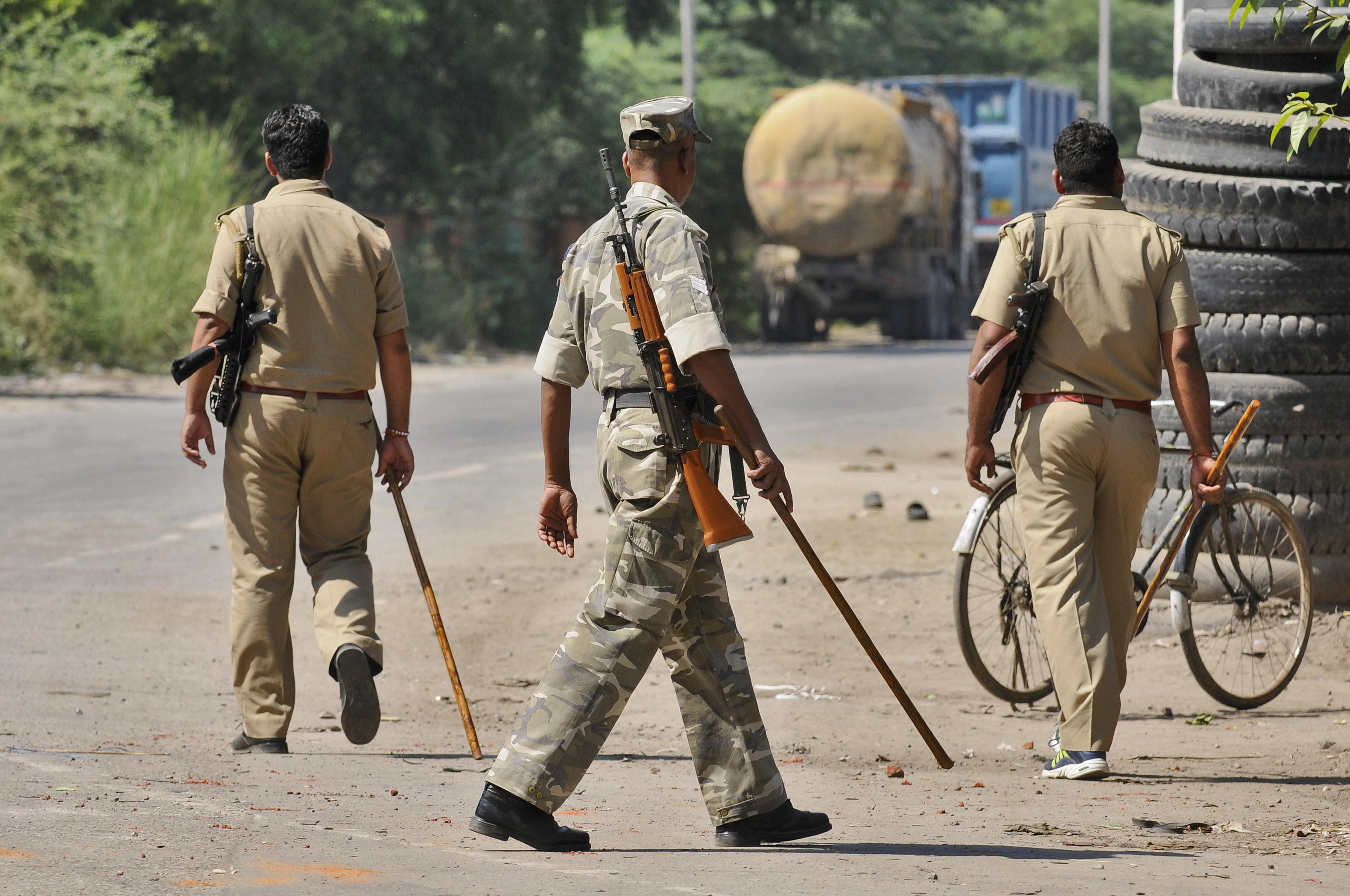 Police on alert after violence over murder of a man over allegations of killing a cow at Bisada on September 29, 2015 in Greater Noida, India.
