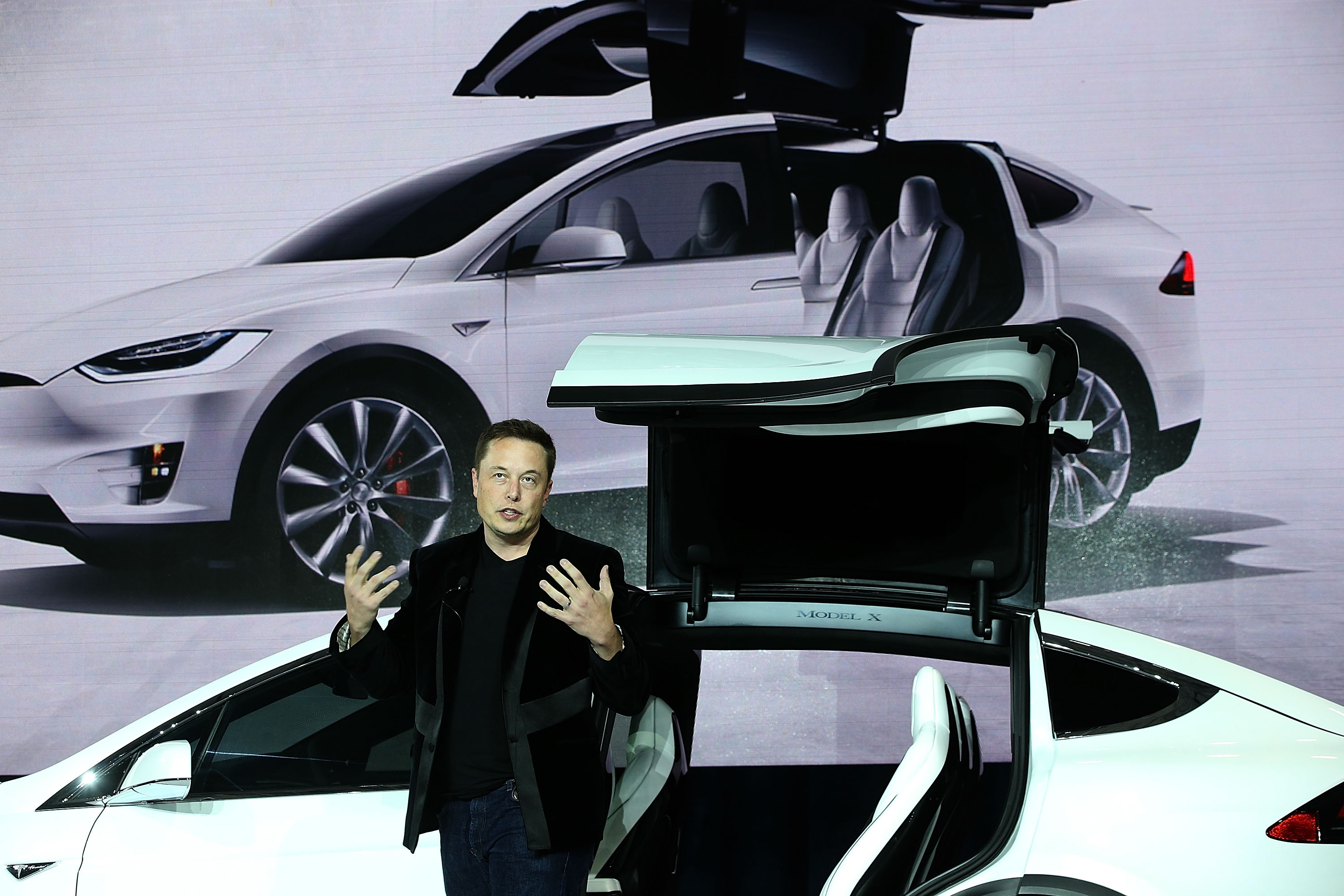 Tesla CEO Elon Musk speaks during an event to launch the new Tesla Model X Crossover SUV on Sept. 29, 2015 in Fremont, Calif.