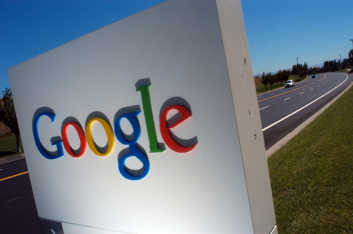 The Google logo is seen on a sign outside of Google Inc. headquarters in Mountain View, Calif., Aug. 6, 2004.