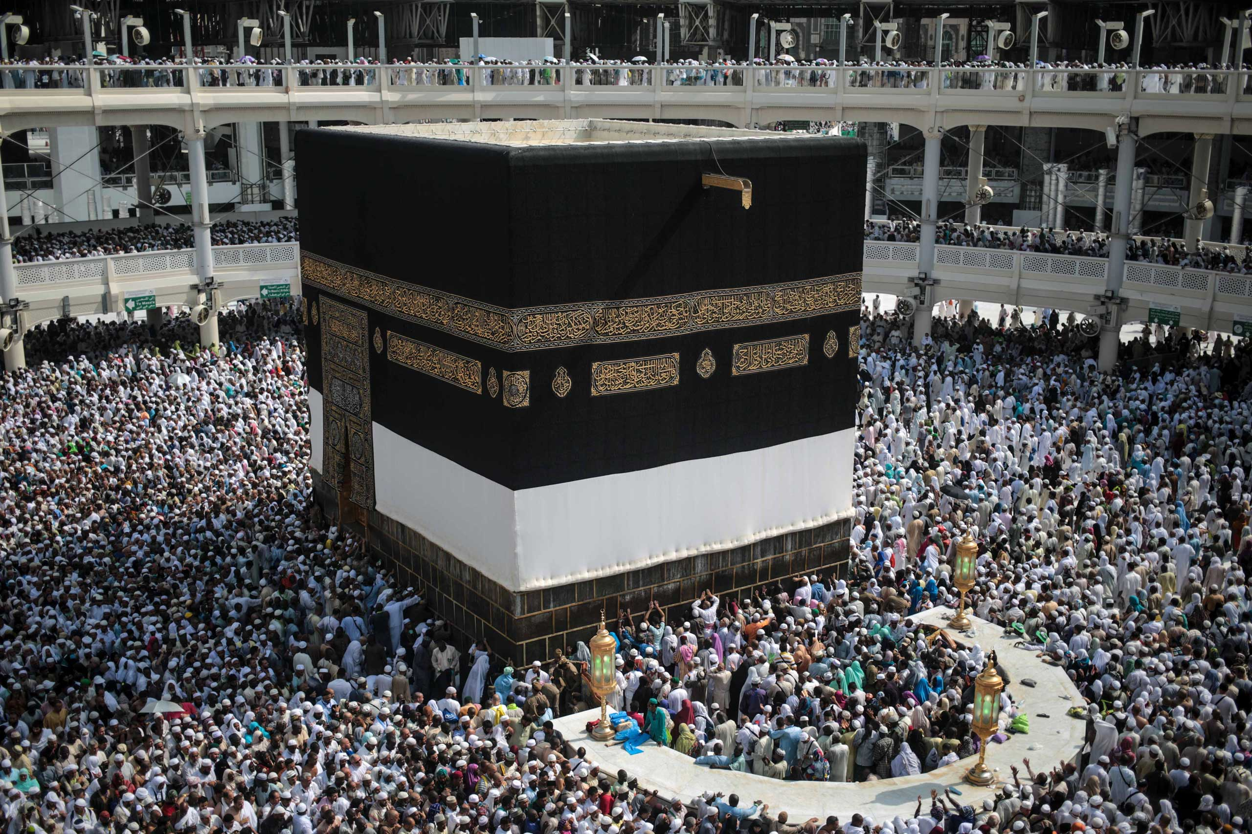 Muslim pilgrims circle the Kaaba, the cubic building at the Grand Mosque in the Muslim holy city of Mecca, Saudi Arabia, on Sept. 15, 2015.