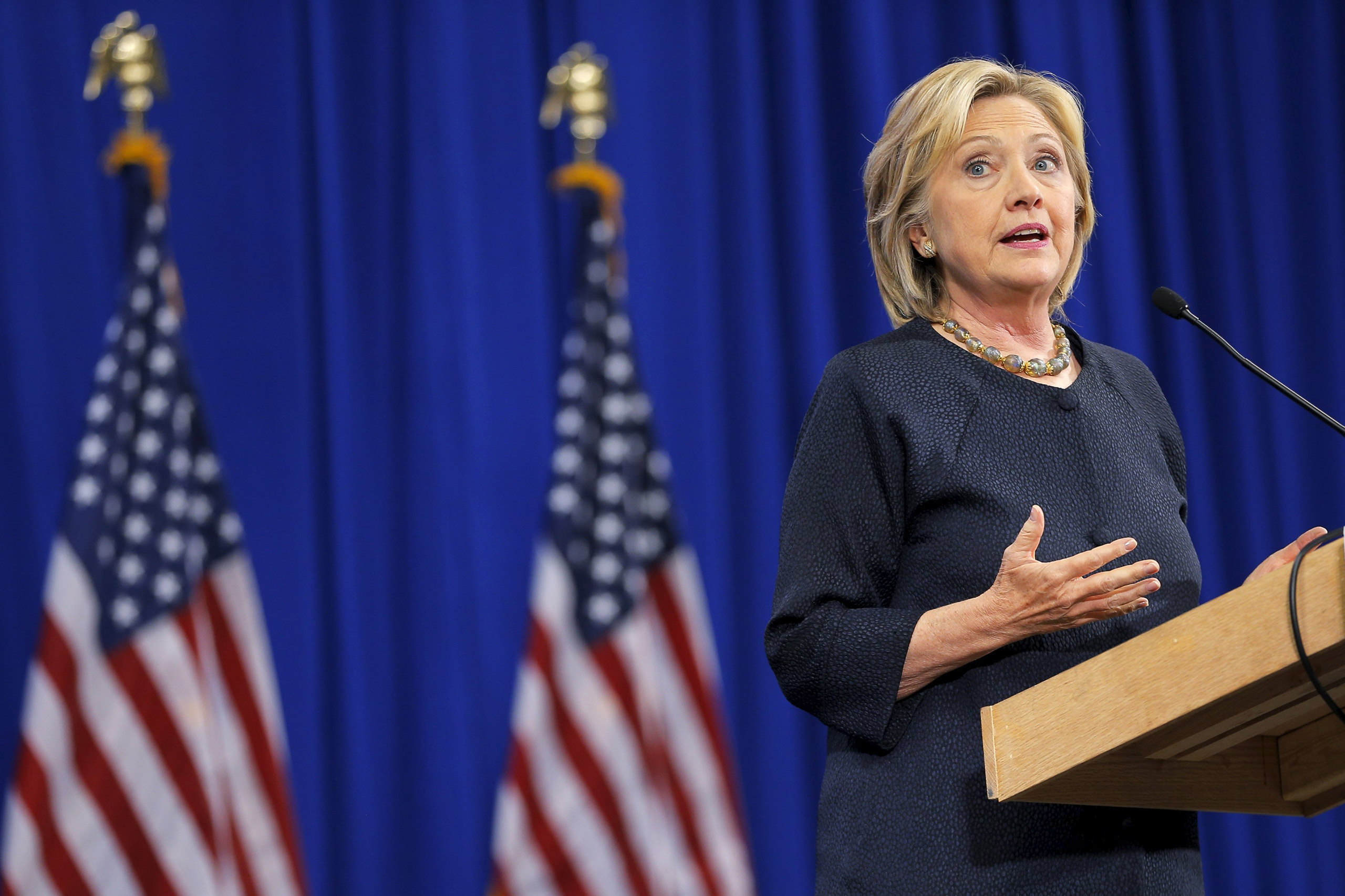 Hillary Clinton speaks at the New Hampshire Democratic Party State Convention in Manchester, New Hampshire, on Sept. 19, 2015.