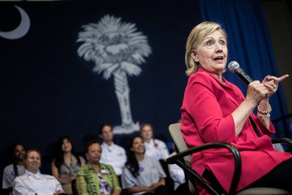 Democratic Presidential candidate and former U.S. Secretary of the State Hillary Clinton holds a forum at Greenville Technical College on July 23, 2015 in Greenville, South Carolina.