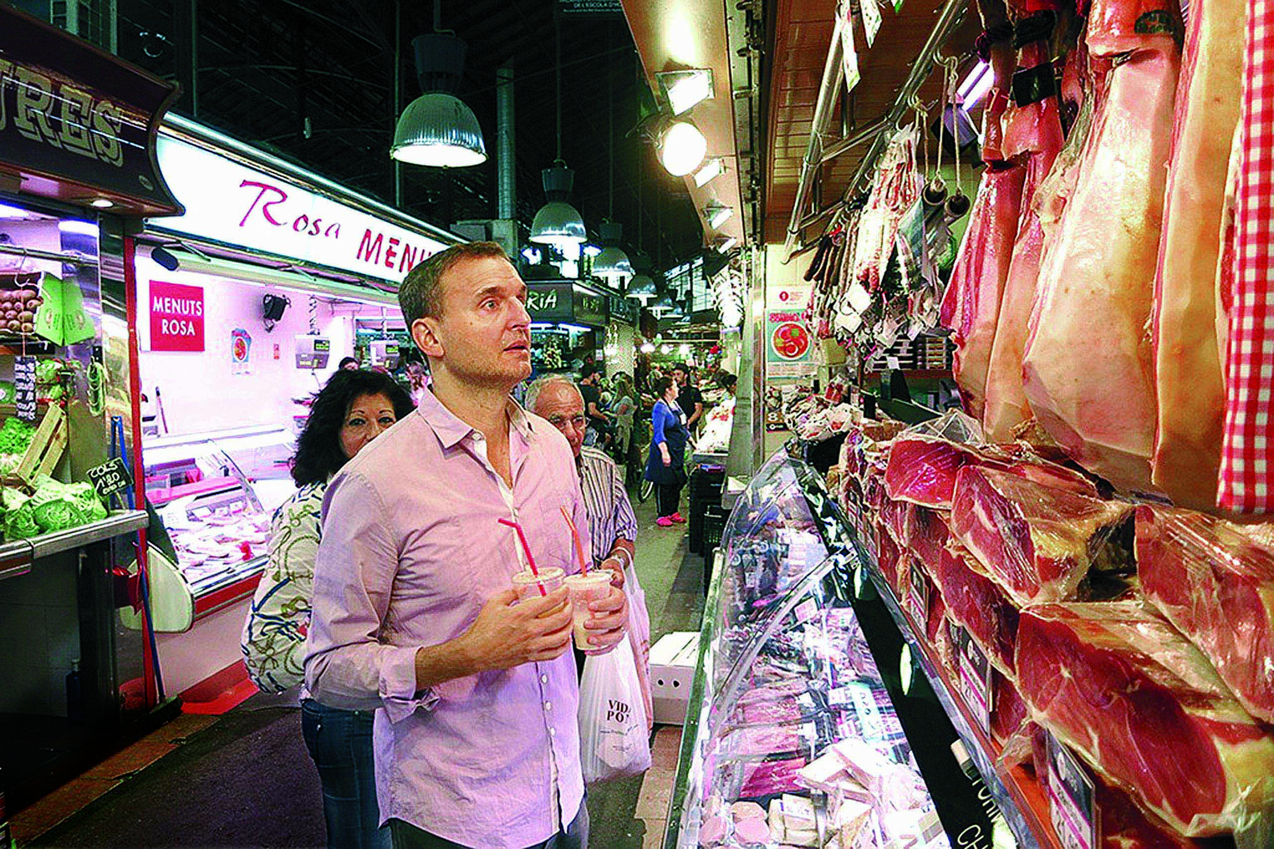 Rosenthal gazes upon Spanish ham in I'll Have What Phil's Having.