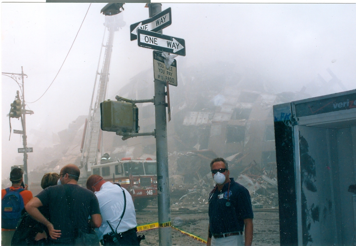 Jaime Hazan is in the blue shirt in New York City on Sept. 12, 2001.
