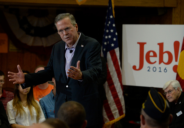 Former Florida Governor and GOP Presidential candidate Jeb Bush at a town hall meeting at the VFW Post 9644 August 25, 2015.