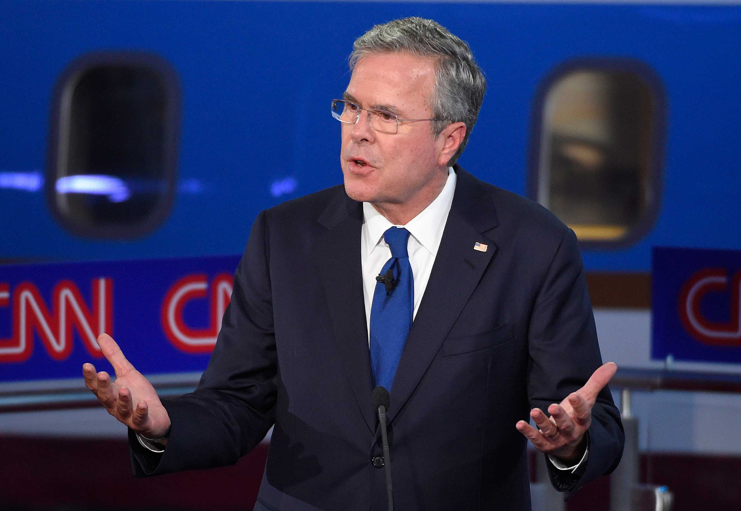 In this photo taken Wednesday, Sept. 16, 2015, Republican presidential candidate, former Florida Gov. Jeb Bush speaks during the CNN Republican presidential debate at the Ronald Reagan Presidential Library and Museum, in Simi Valley, Calif. Britain is abuzz with U.S. presidential candidate Jeb Bush's suggestion that Margaret Thatcher should grace the new $10 bill. (AP Photo/Mark J. Terrill)