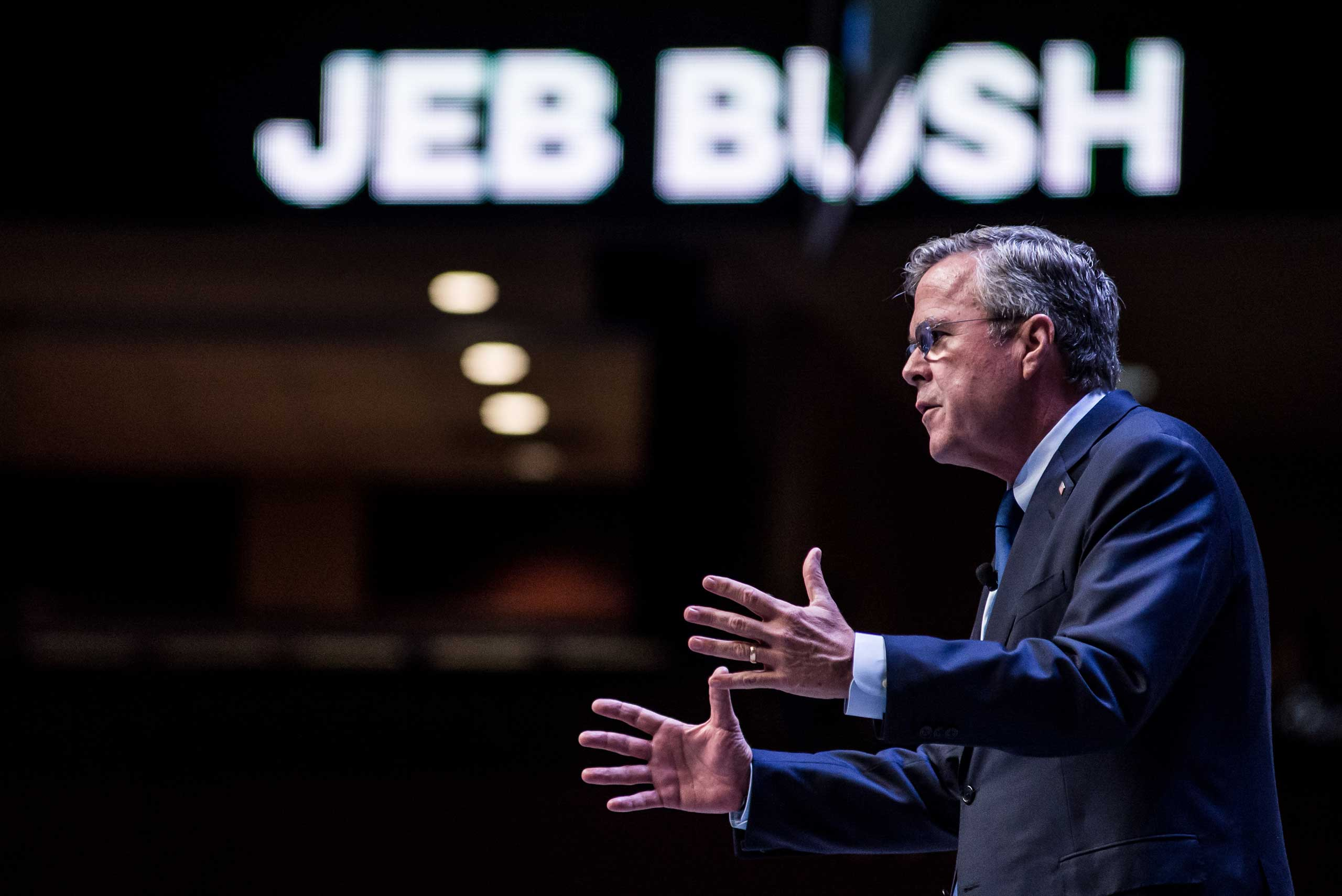 Former Florida Governor and republican presidential candidate Jeb Bush speaks to voters at the Heritage Action Presidential Candidate Forum  in Greenville, South Carolina, Sept. 18, 2015