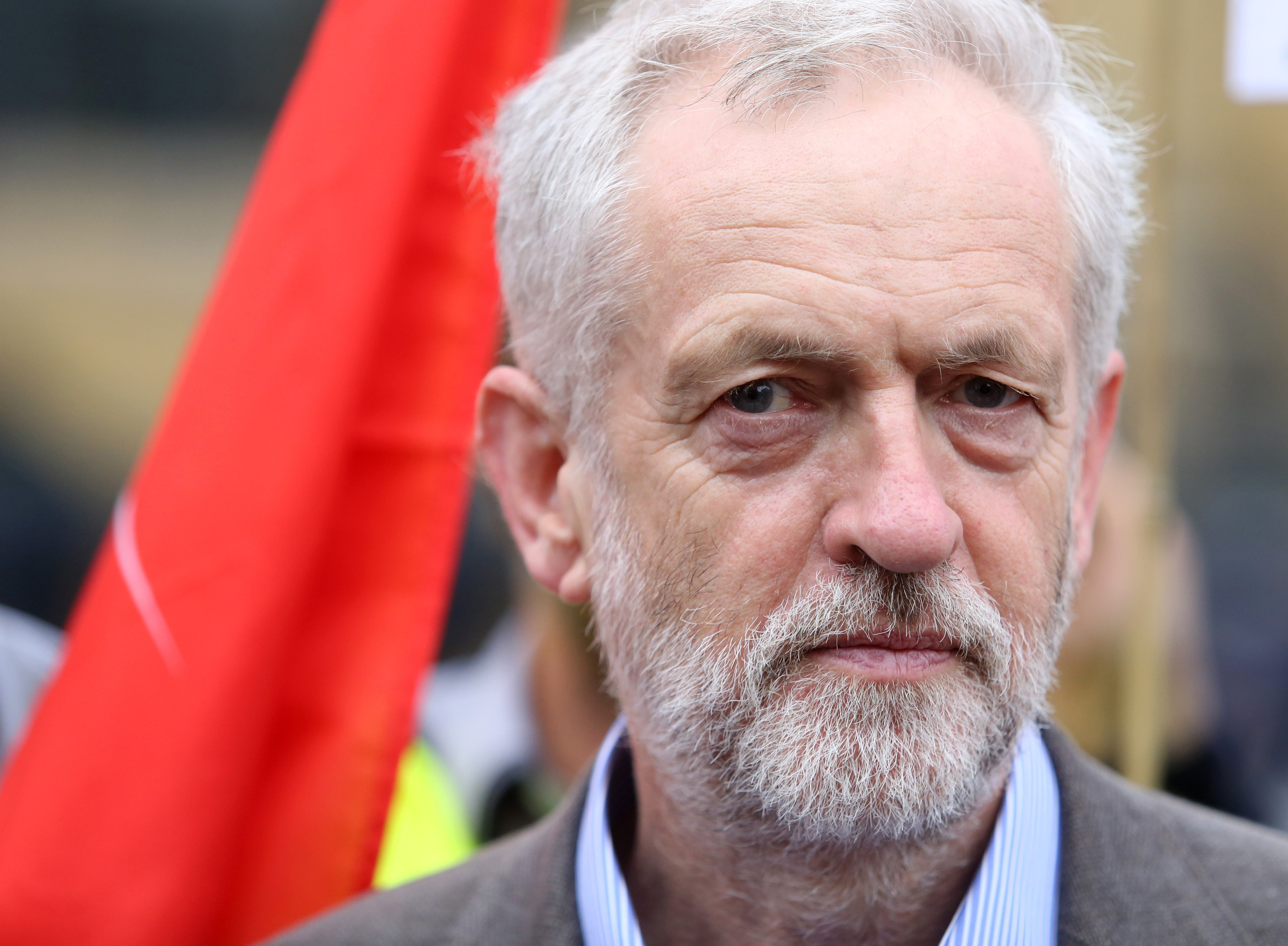 Jeremy Corbyn, candidate for the leadership of the Labour Party, pauses at an event outlining his plans for a publicly owned railway network in London on Aug. 18, 2015.