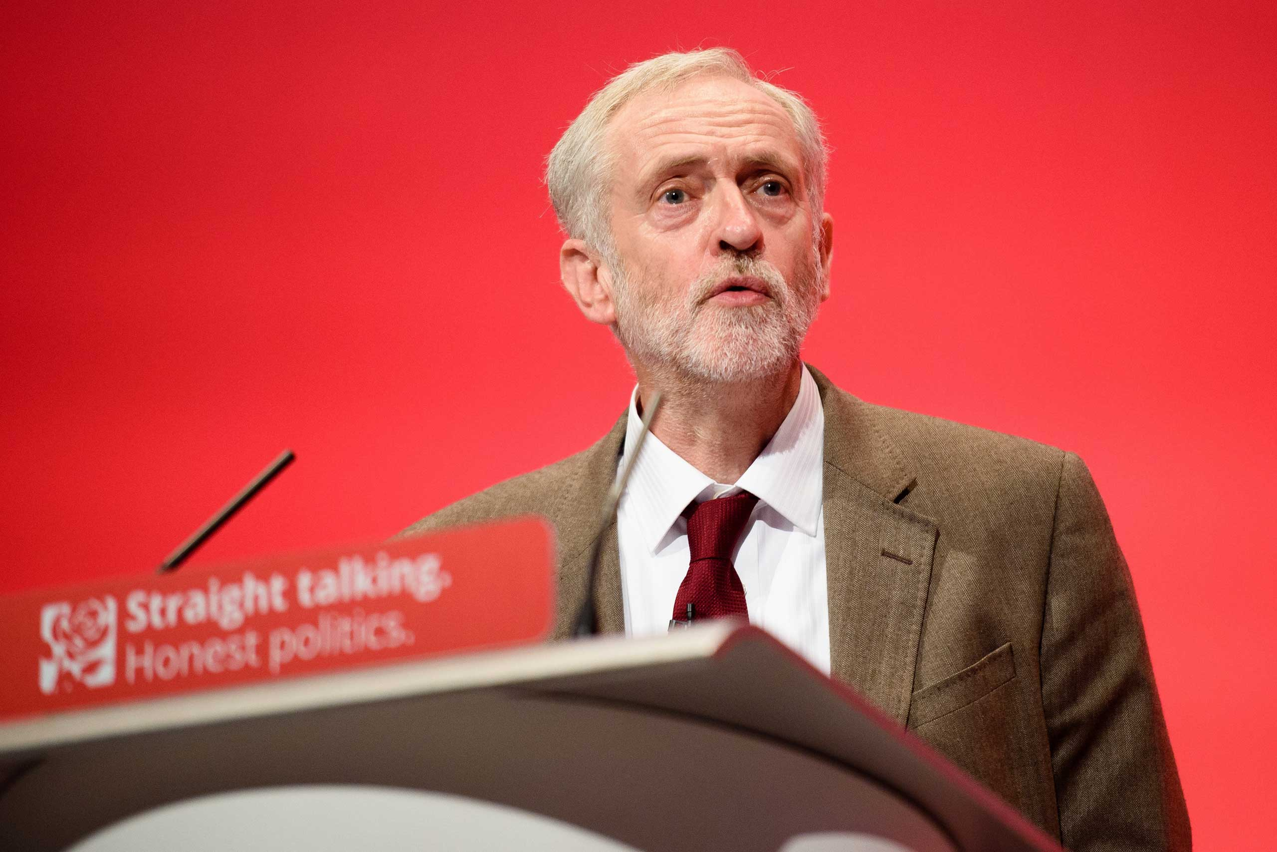 Labour Party Leader Jeremy Corbyn makes his keynote address on the third day of the annual Labour Party Conference in Brighton, south east England, on Sept. 29, 2015.