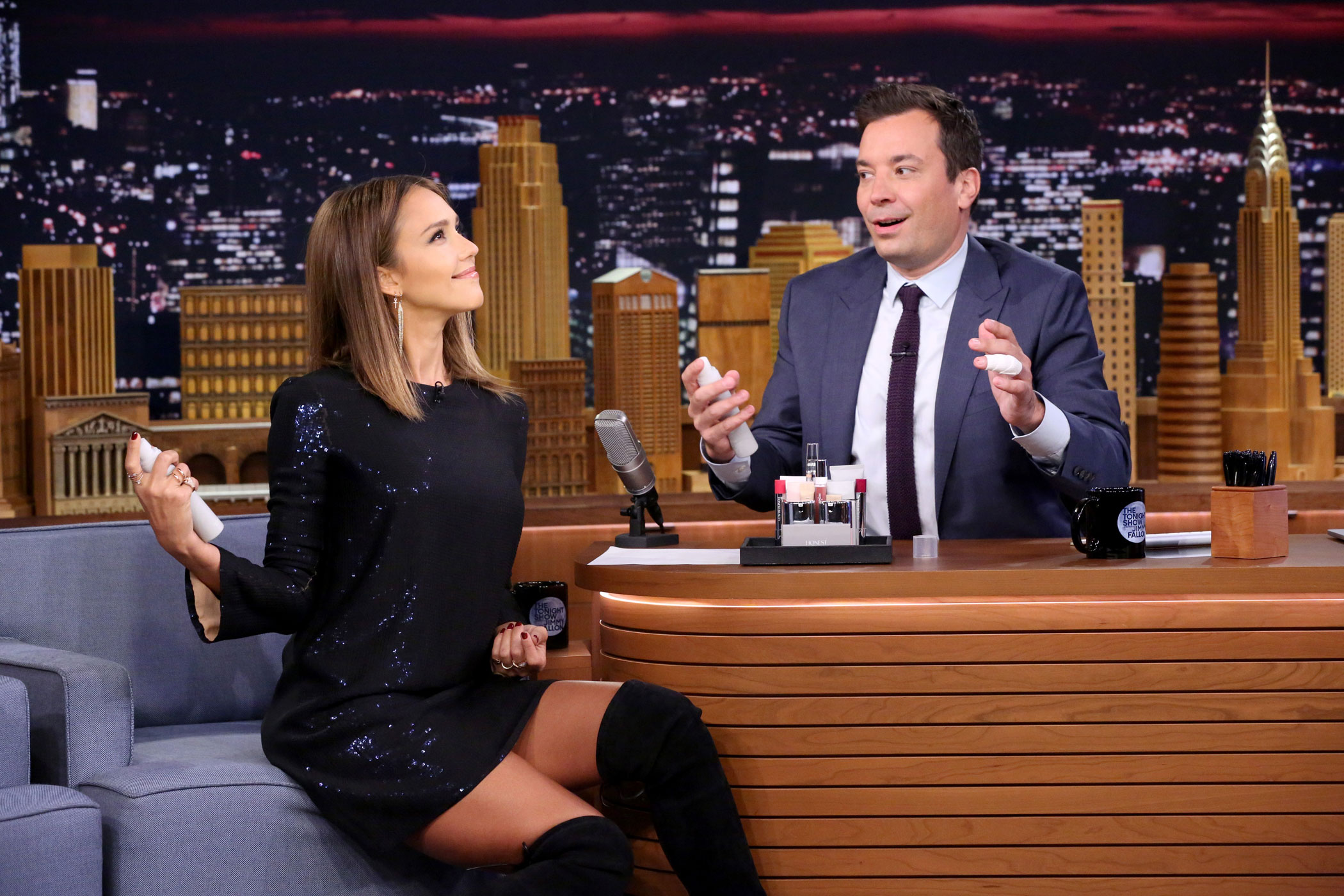 Jessica Alba during an interview with host Jimmy Fallon on Sept. 14, 2015.