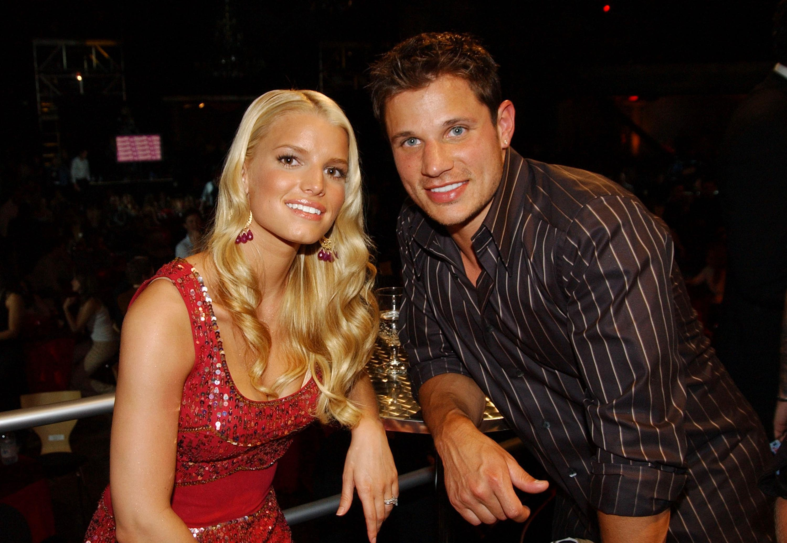 Jessica Simpson and Nick Lachey at MTV Bash - Backstage and Audience in Hollywood on June 28, 2003.