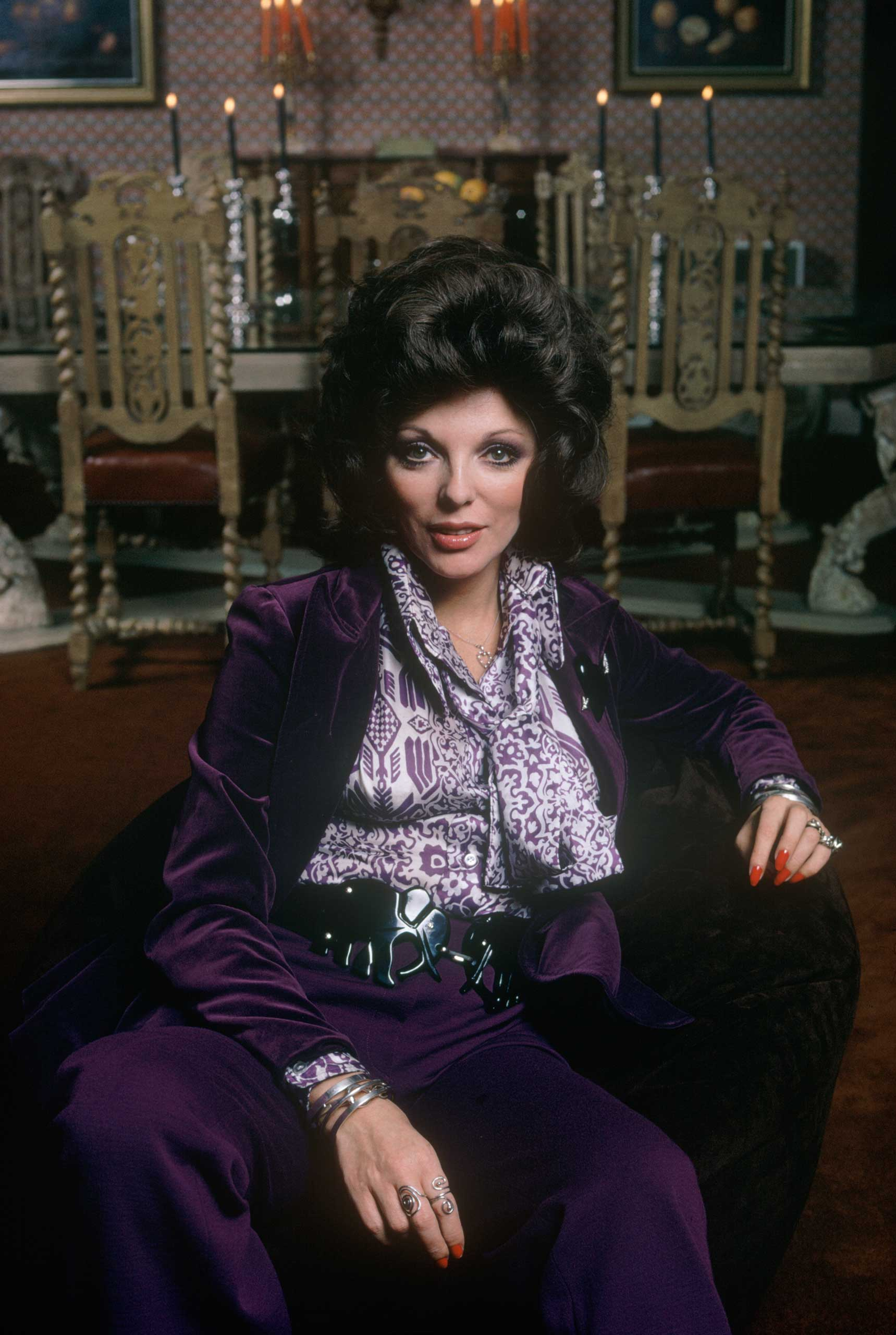<b>Joan Collins</b>Photographed for TV Times in 1971.                                   The age-defying beauty invited the magazine for an exclusive look around her palatial home in the year she was divorced from second husband Tony Newley. Racy film romp <i>The Stud</i> and U.S. soap superstardom were still to come.