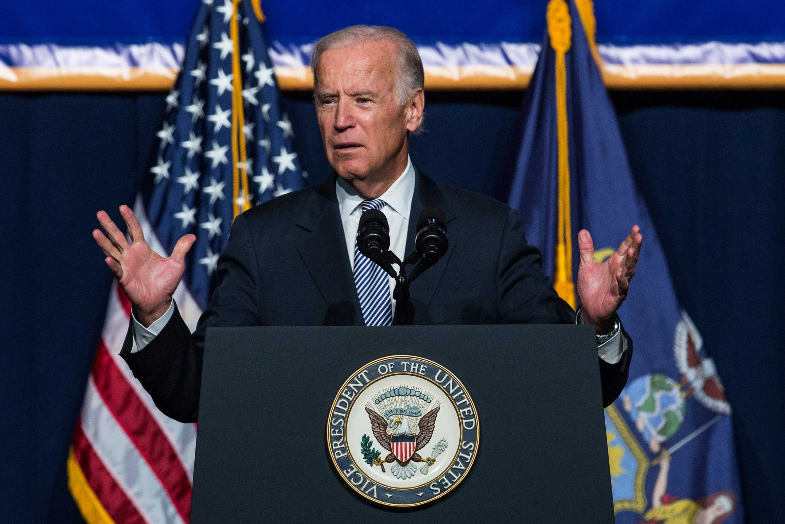 U.S. Vice President Joe Biden speaks in support of raising the minimum wage for the state of New York to $15 per hour in New York City, on Sept. 10, 2015