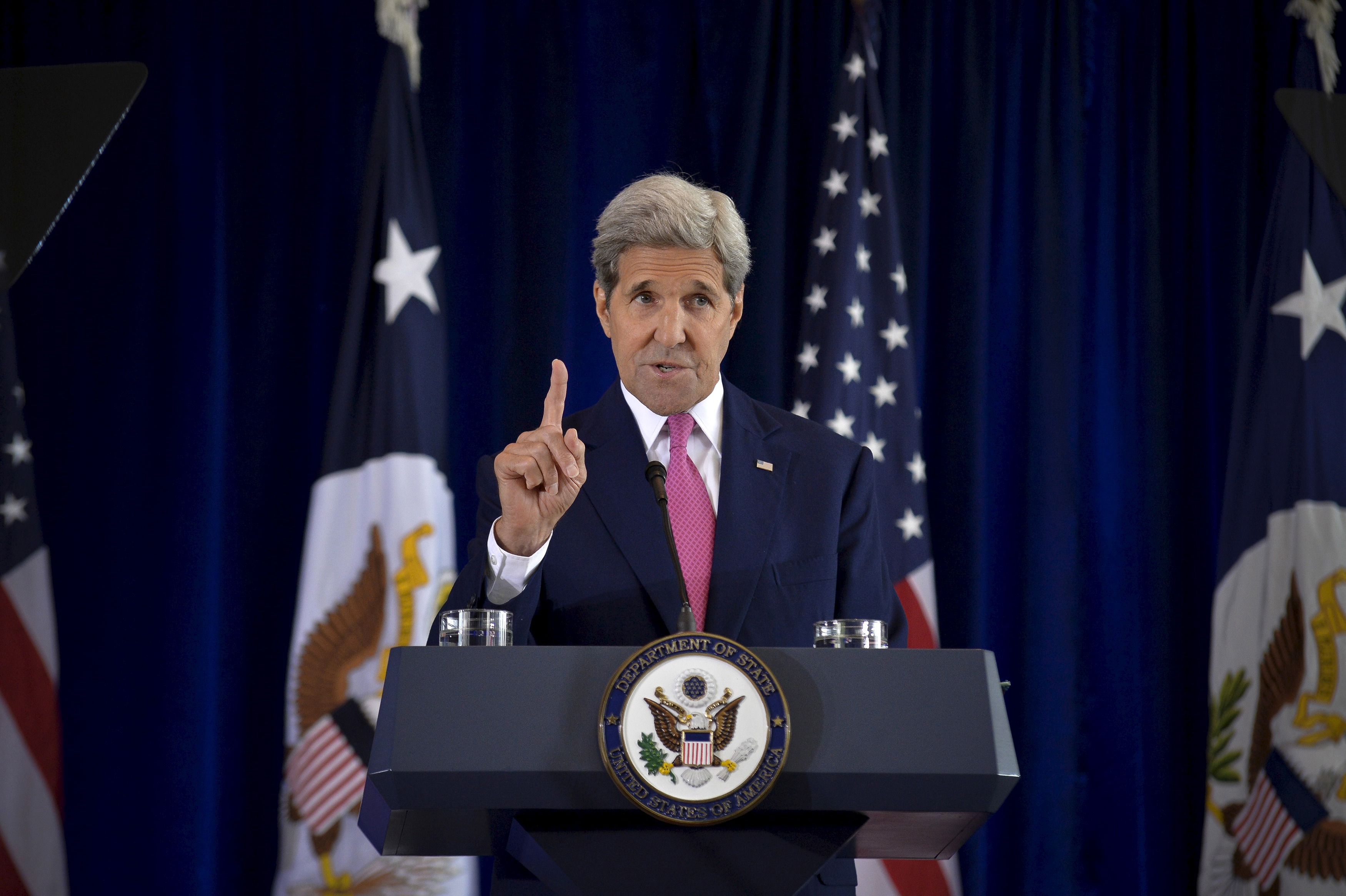 U.S. Secretary of State John Kerry delivers a speech on the nuclear agreement with Iran, in Philadelphia on Sept. 2, 2015.