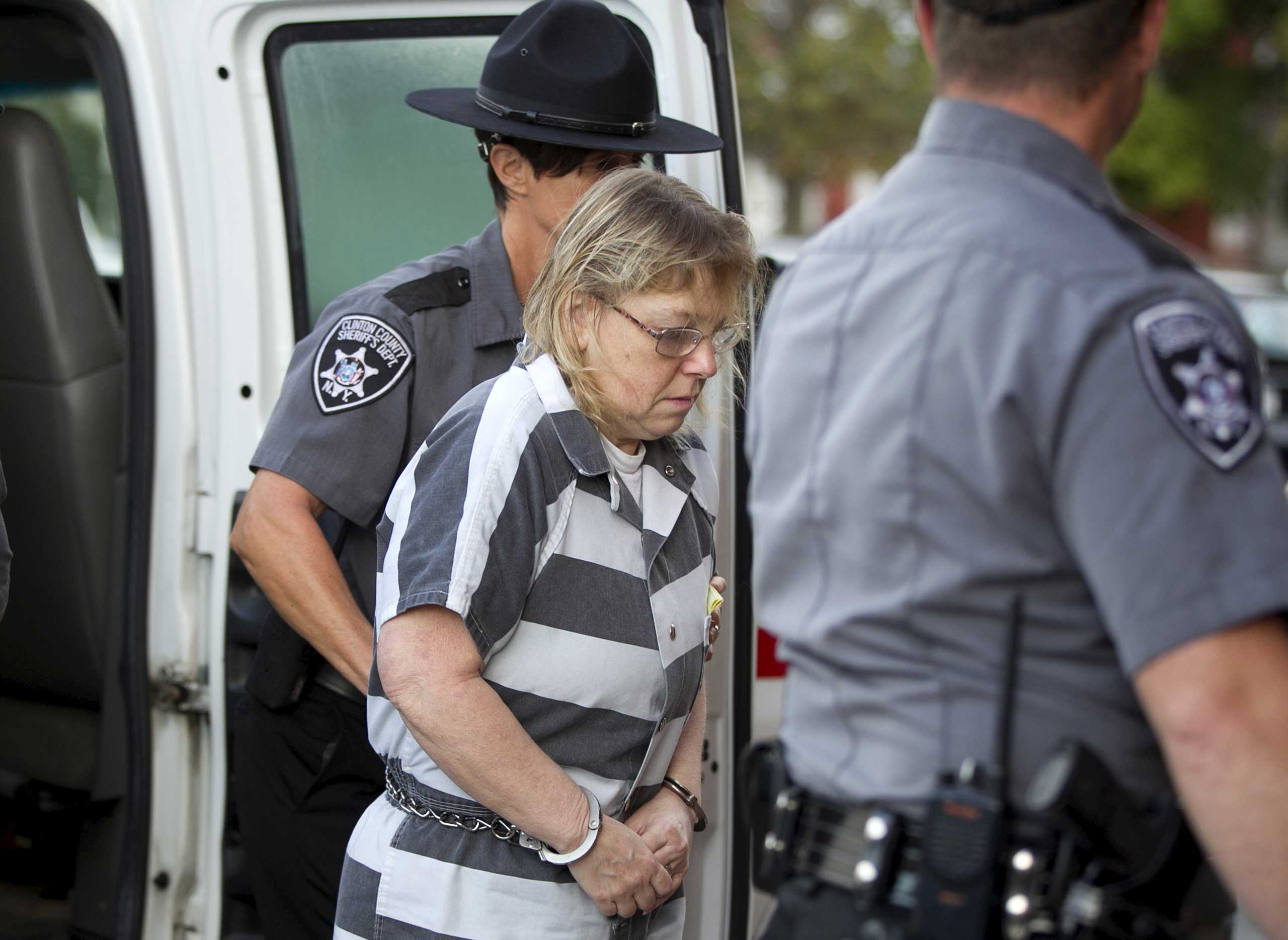 Joyce Mitchell arrives for sentencing at Clinton County Court, in Plattsburgh, New York Sept. 28, 2015.