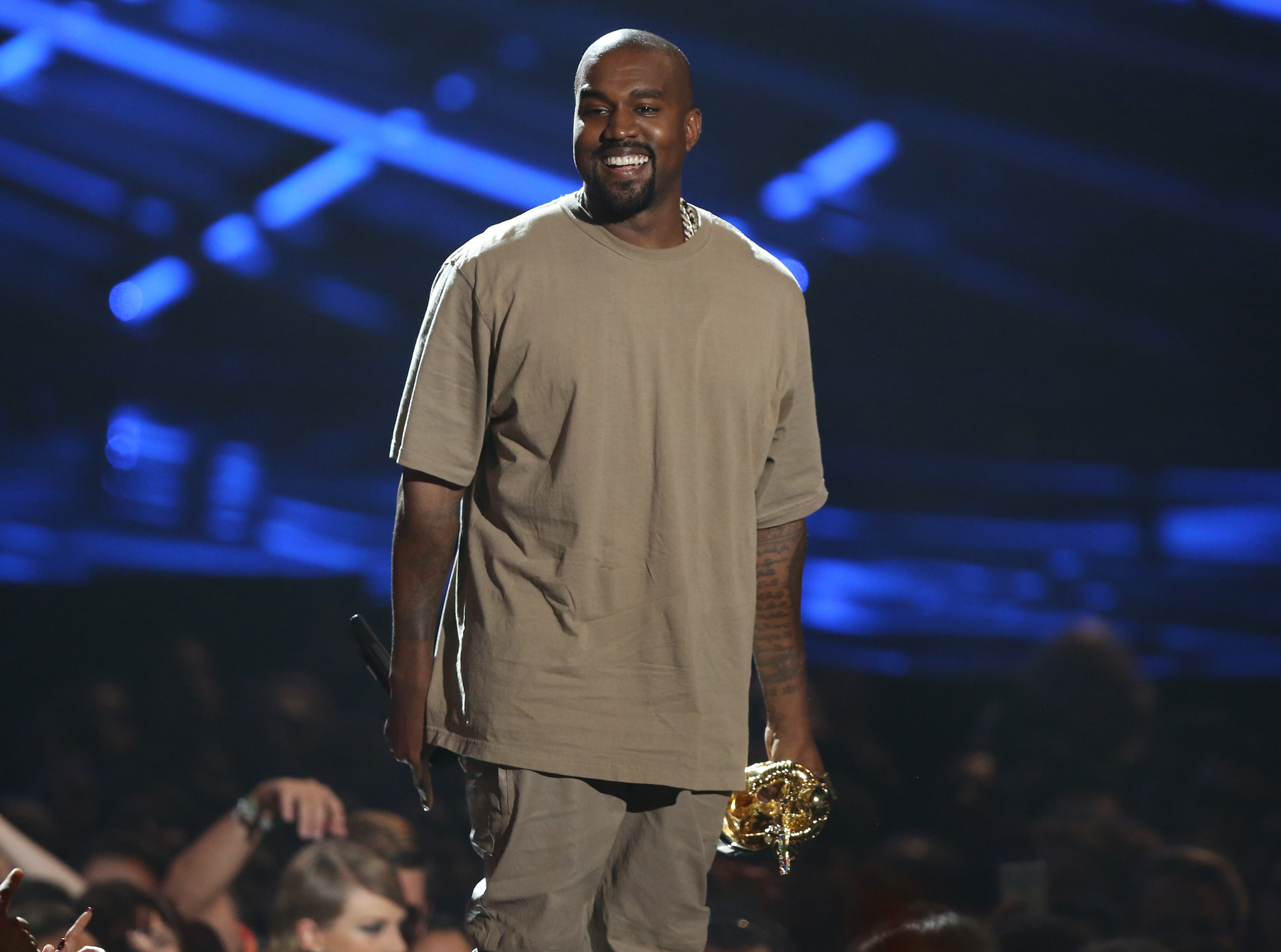 Kanye West accepts the video vanguard award at the MTV Video Music Awards at the Microsoft Theater on Aug. 30, 2015, in Los Angeles.