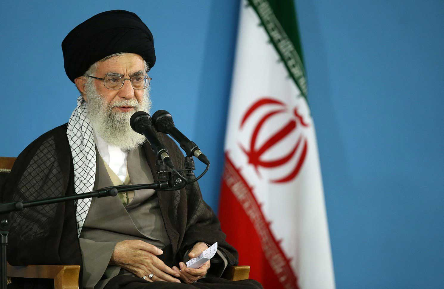 Iran's Supreme Leader Ayatollah Ali Khamenei shows him delivering a speech during a meeting in Tehran on Sept. 9, 2015.