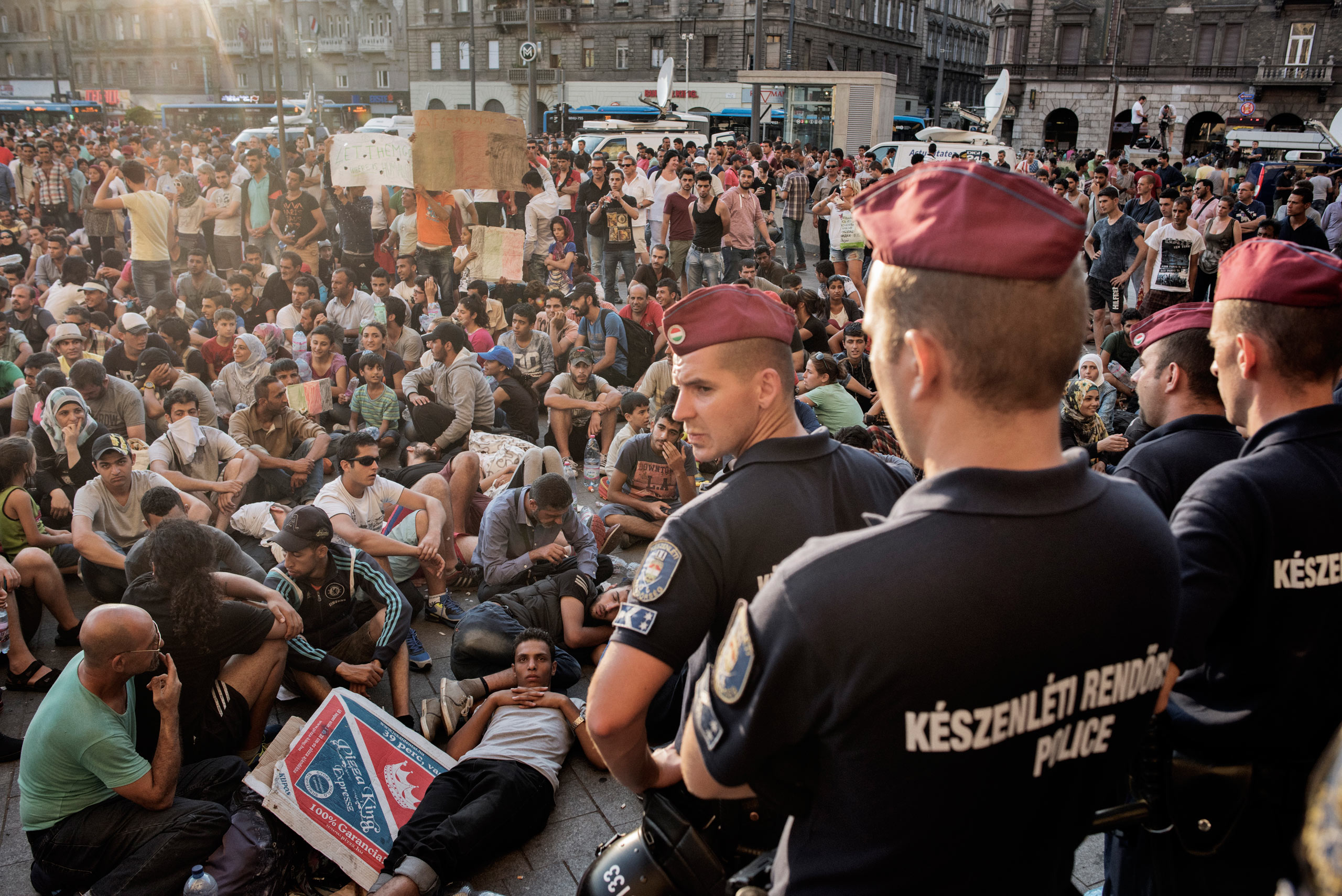 Migrants protest for the right to travel to Germany and claim asylum at the Keleti train station in Budapest which was temporarily closed. Sept. 1, 2015.