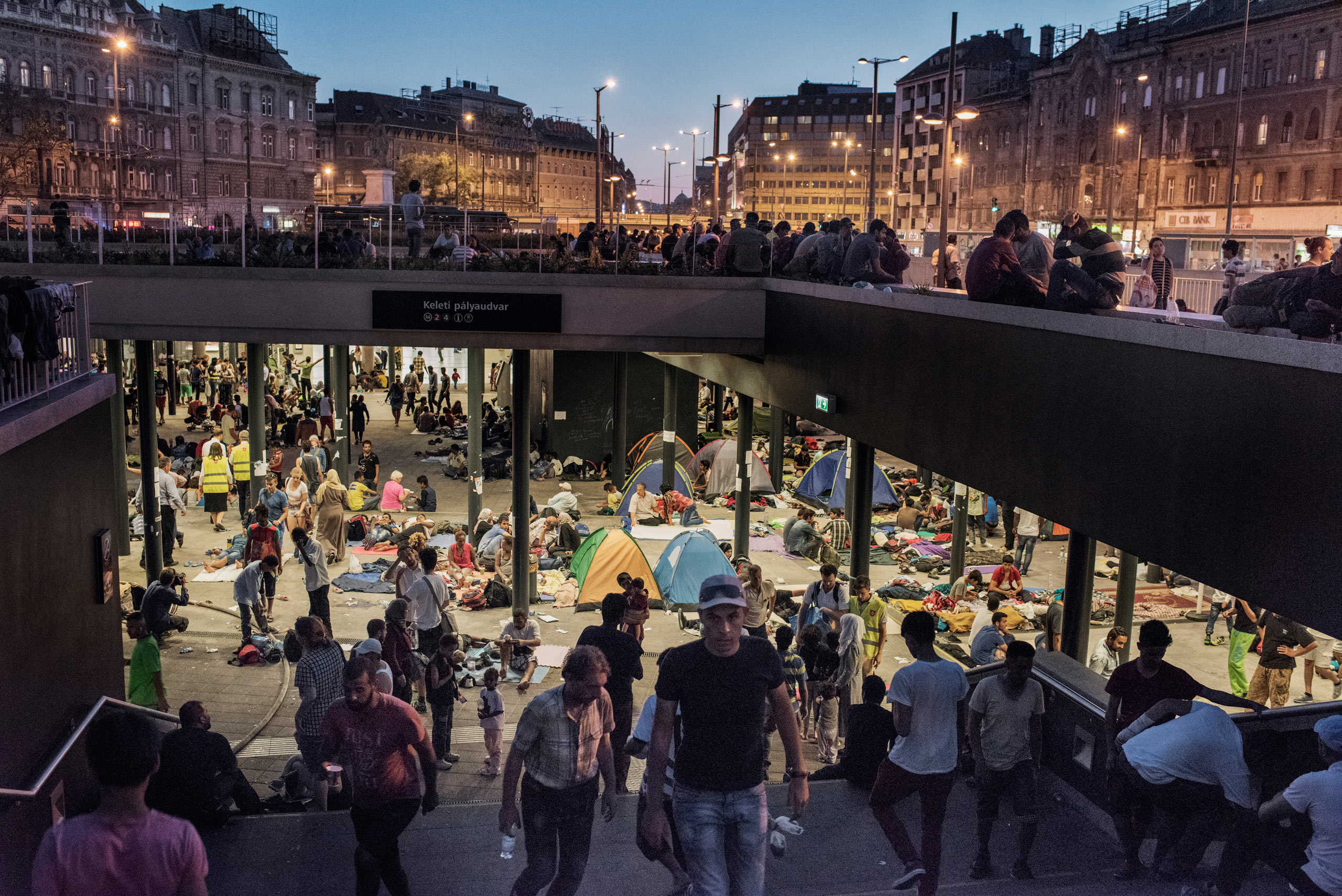 Thousands of migrants stranded at the Keleti train station in Budapest, Hungary, blocked from traveling to Austria, Germany and destinations in northern Europe where they hope to seek asylum.  Sept. 2, 2015.