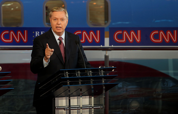 Republican presidential candidate, U.S. Senator Lindsey Graham (R-SC) speaks during the presidential debates at the Reagan Library on September 16, 2015 in Simi Valley, California.