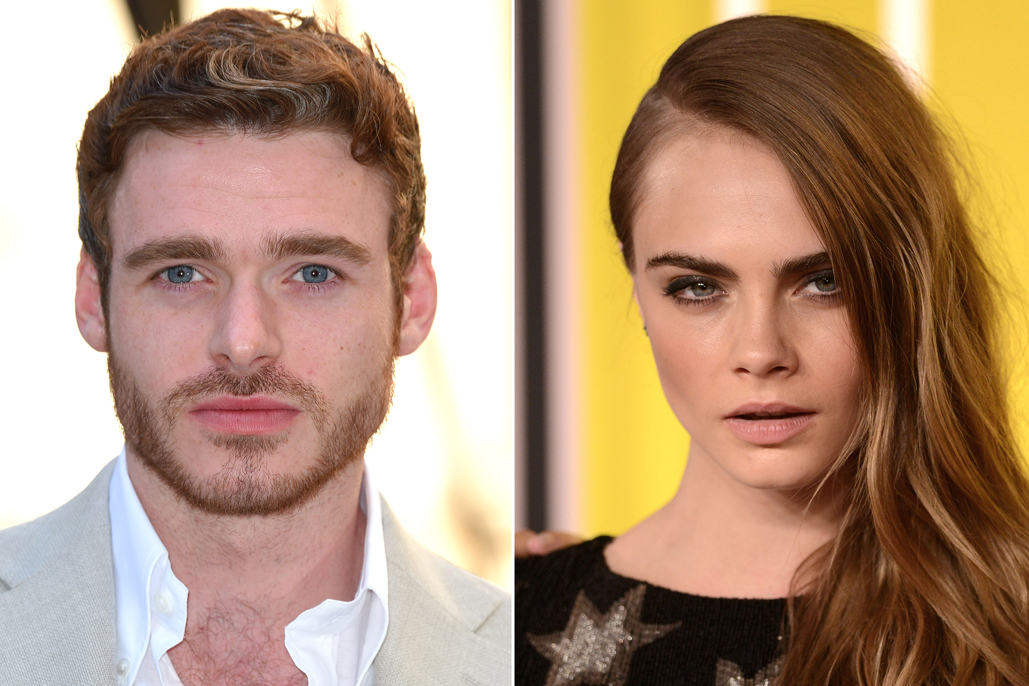 Left: Richard Madden attends the Royal Academy of Arts Summer Exhibition at the Royal Academy on June 3, 2015 in London; Right: Cara Delevingne arrives to the 2015 MTV Video Music Awards at Microsoft Theater on Aug. 30, 2015 in Los Angeles