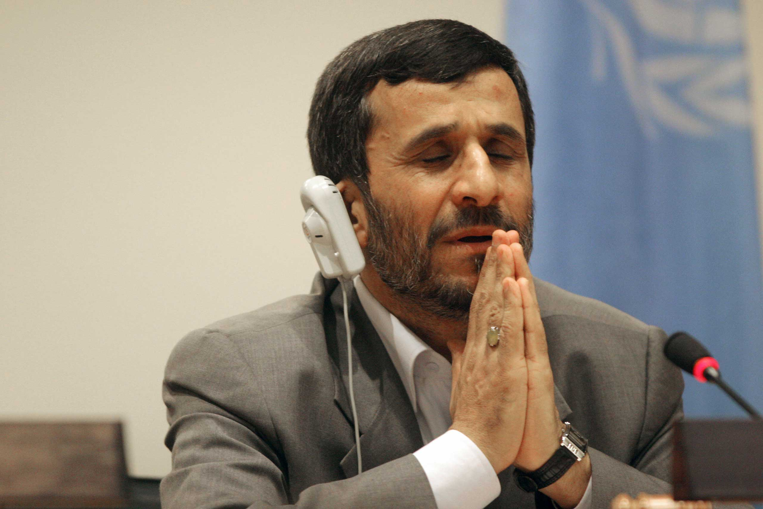 Then-Iranian President Mahmoud Ahmedinejad speaks during a press conference at United Nations headquarters in Sept. 2007.