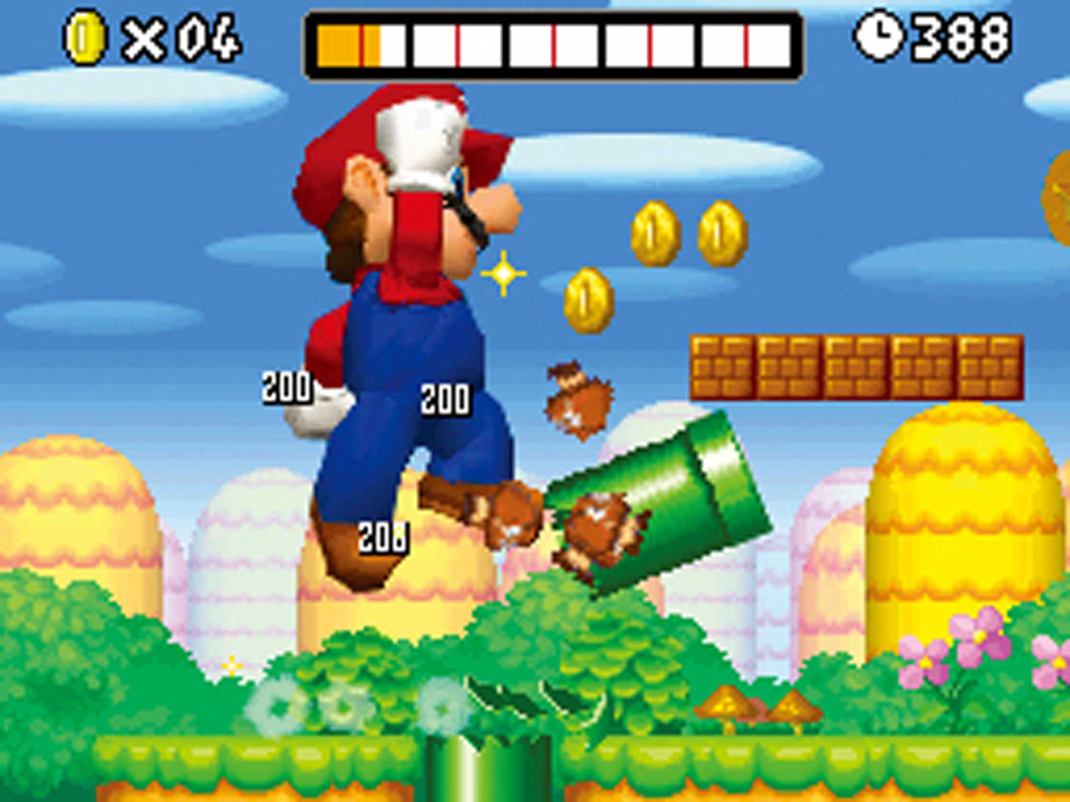2006: New Super Mario Bros.                                                              A decade after transitioning to 3D, Mario returned to his side-scrolling roots in 2006 with Super Mario Bros.' debut appearance on Nintendo's fledgling DS handheld.