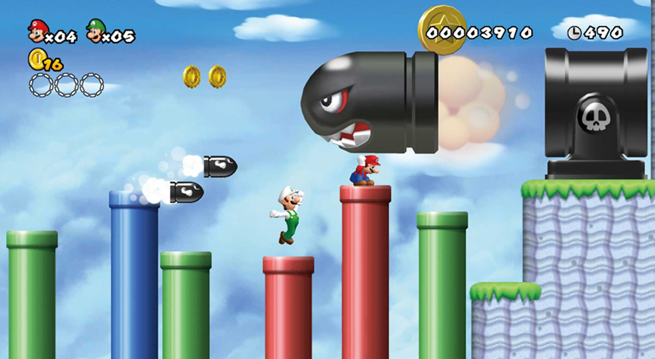 2009: New Super Mario Bros. Wii                                                              Like New Super Mario Bros. for Nintendo's DS handheld, this Wii-based sidescroller laid 3D characters and objects against 2D backdrops, but also built on the Wii's local multiplayer capabilities with 4-way cooperative play--a first for the series.