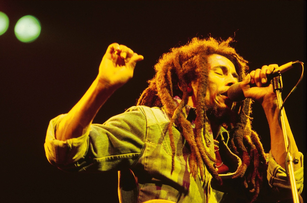 Bob Marley performing live on stage at the Brighton Leisure Centre earlier in 1980
