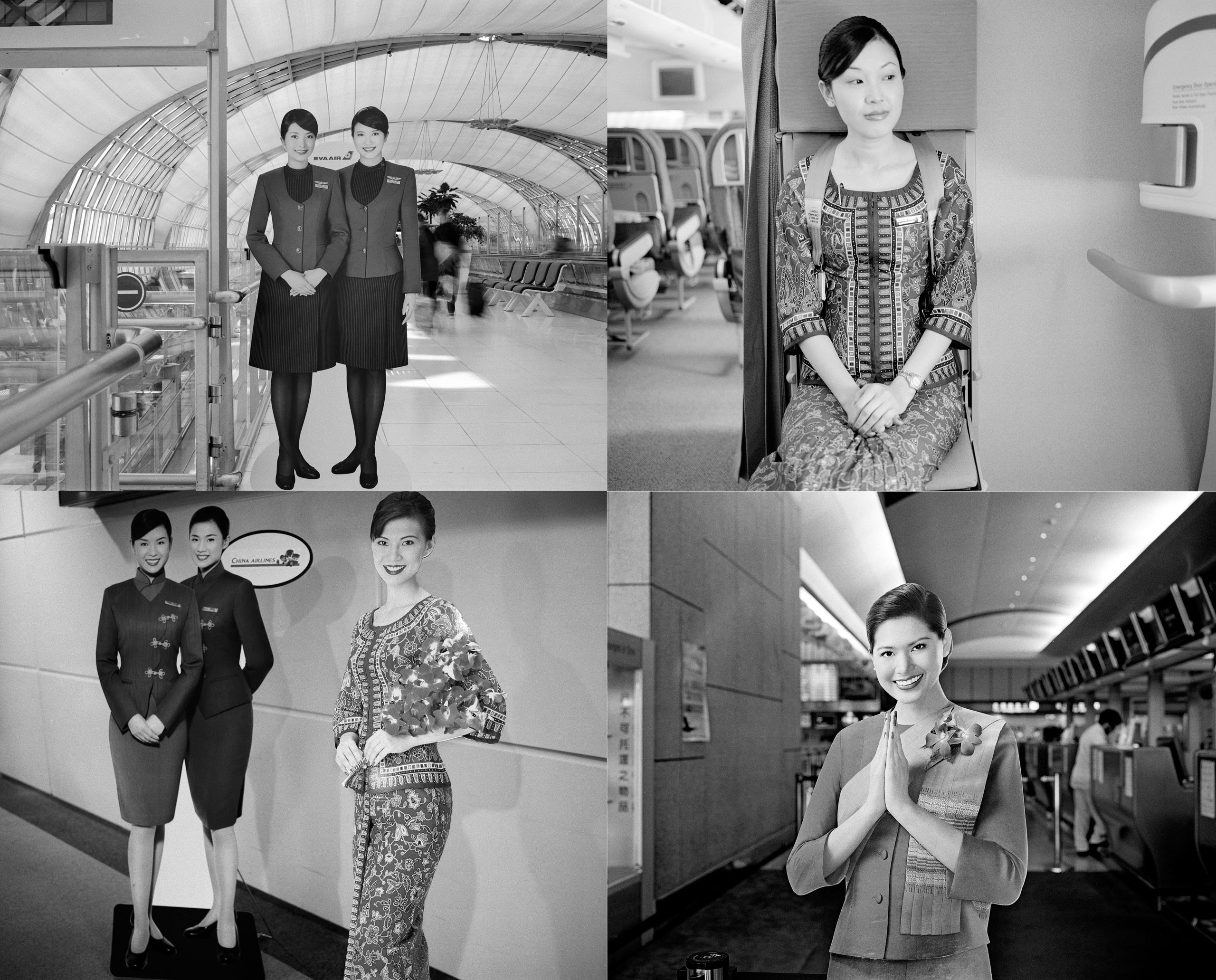 (From top-left to bottom-right)                                                               Suvamabhumi Airport,  Bangkok, Thailand, 2012.                                                              Singapore Airlines flight attendant, Singapore, 2007.                                                               Taoyuan Airport,Taiwan,  2006.                                                              Taoyuan International Airport, Taiwan, 2009