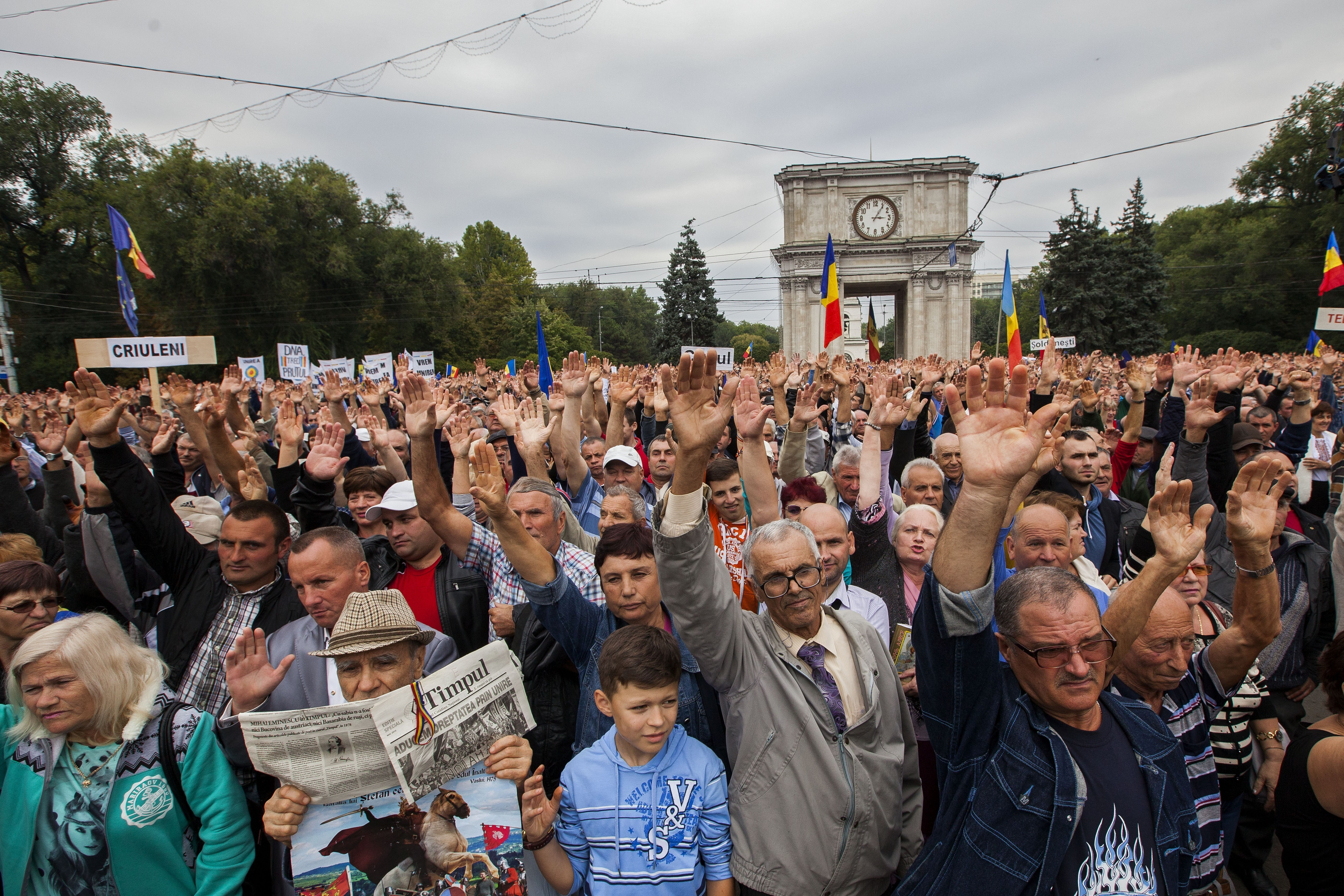 Protesters take part in a rally demanding the resignation of President Nicolae Timofti in Chisinau, Moldova, on Sept. 13, 2015