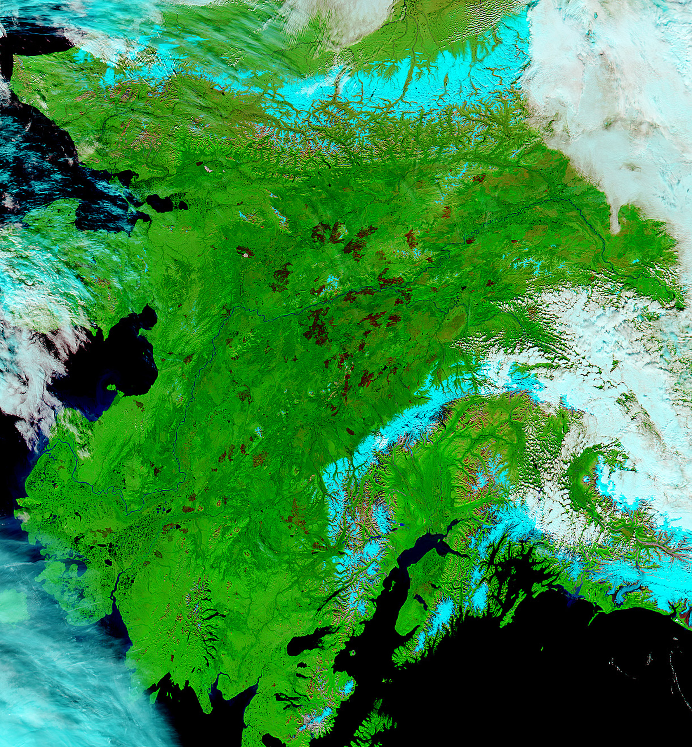 Alaskan burn scars are shown in a satellite photo acquired by NASA's Earth Observatory on Sept. 1, 2015.