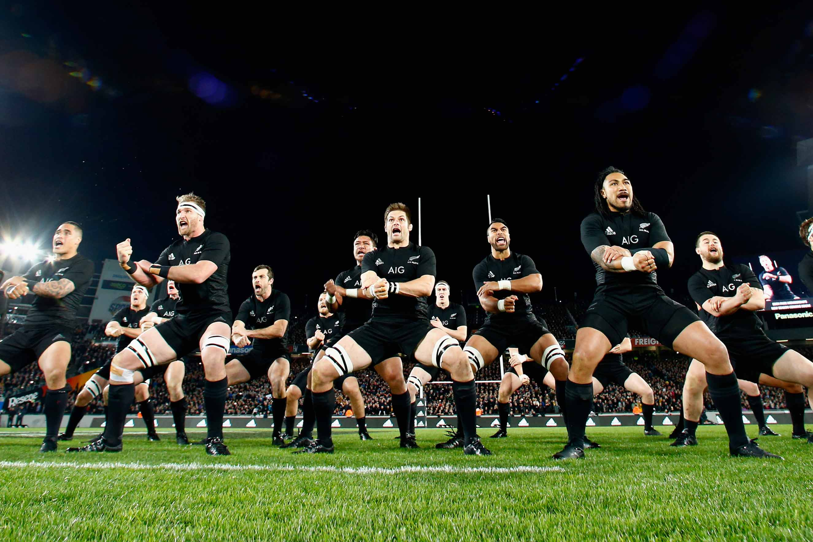 From left: Kieran Read, Richie McCaw and Ma'a Nonu of the All Blacks perform the haka  during The Rugby Championship, Bledisloe Cup match between the New Zealand All Blacks and the Australian Wallabies at Eden Park on Aug. 15, 2015 in Auckland.
