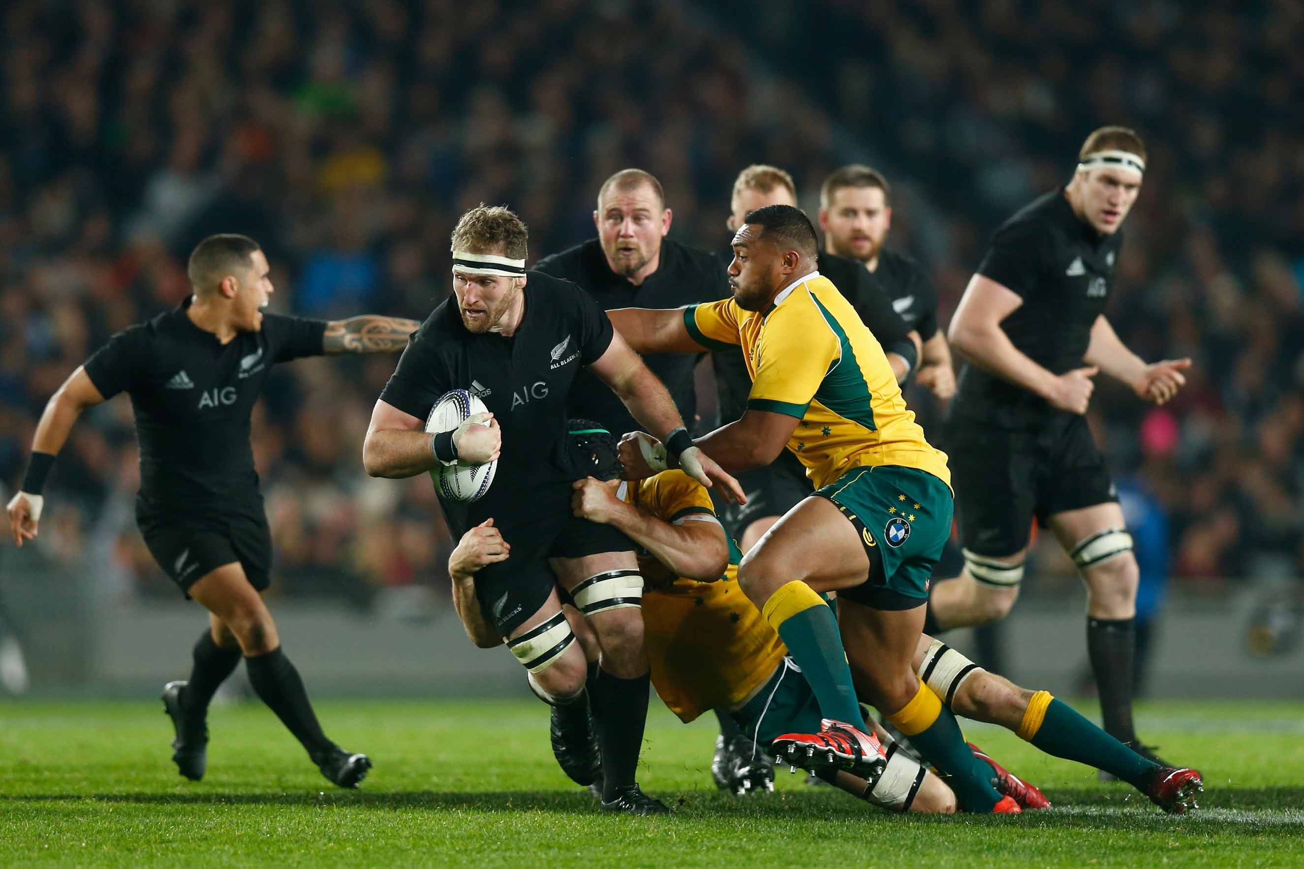 Kieran Read of the All Blacks is tackled  during The Rugby Championship, Bledisloe Cup match between the New Zealand All Blacks and the Australian Wallabies at Eden Park on Aug. 15, 2015 in Auckland.