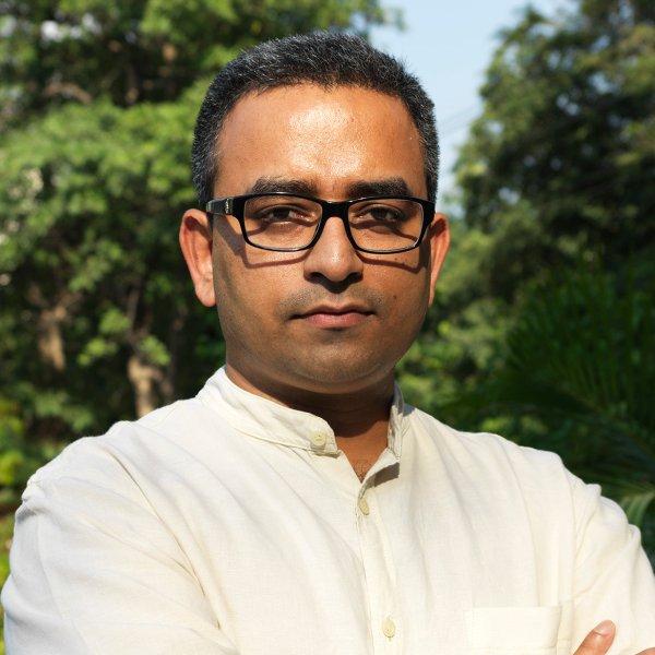 Piyush Tewari, at the park outside his office in Nizamuddin, New Delhi, India. September 11, 2015.