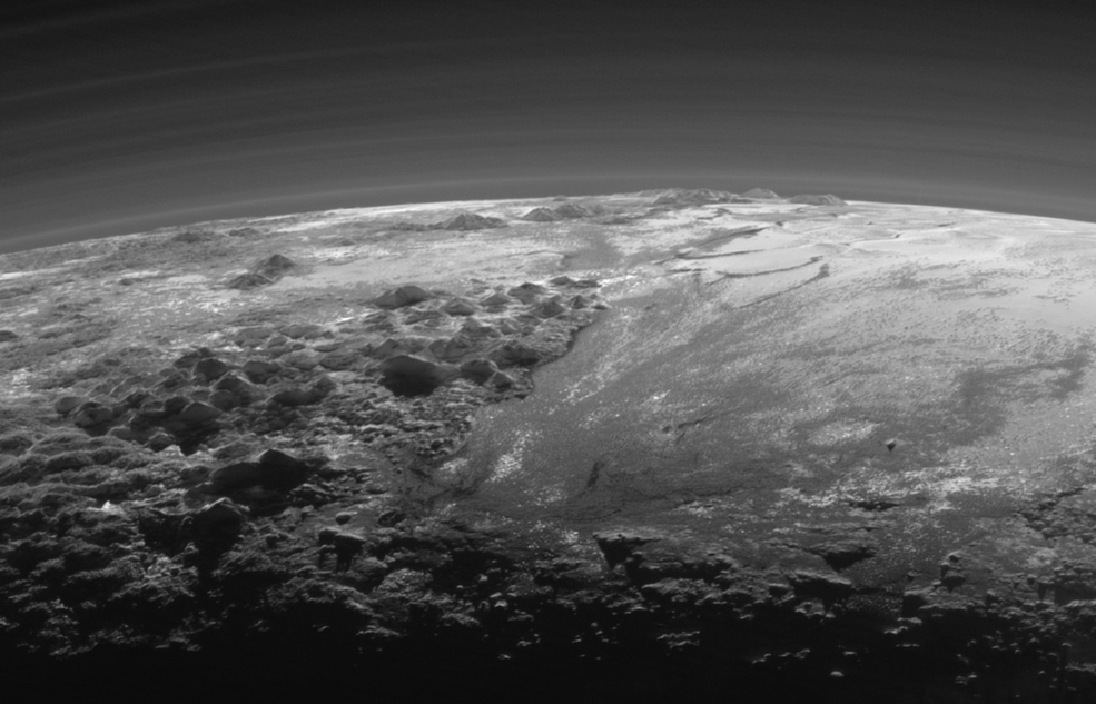 A closer look on the majestic mountains and frozen plains of Pluto as captured by NASA's New Horizons spacecraft on July 14, 2015.