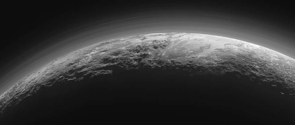 Pluto on July 14, 2015, as seen by NASA's New Horizons spacecraft while it looked back toward the sun.