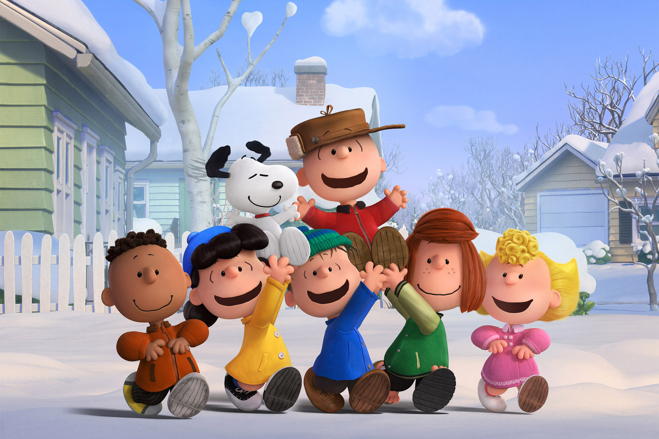 Charlie Brown, Snoopy and the Peanuts gang (Franklin, Lucy, Linus, Peppermint Patty and Sally) revel in a snow day.