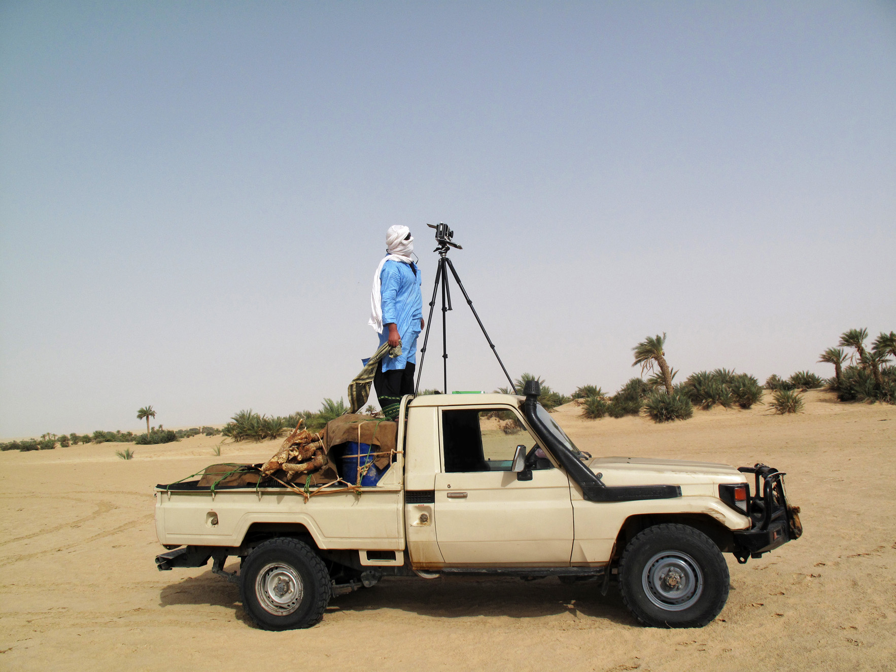 Photographer Philippe Dudouit working in Libya, 2015.