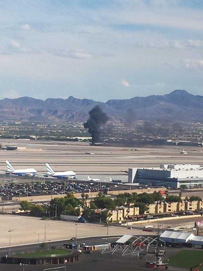 plane fire las vegas airport