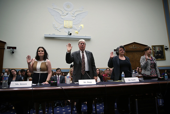 Pro-life activists Gianna Jessen (L) and Melissa Ohden (R), General Counsel for National Right to Life James Bopp (2nd L) and Director and Senior Fellow in the Program for the Study of Reproductive Justice in Yale Law School's Information Society Project Priscilla Smith (3rd L) are sworn in during a hearing before House Judiciary Committee about Planned Parenthood Sept. 9, 2015 on Capitol Hill in Washington.
