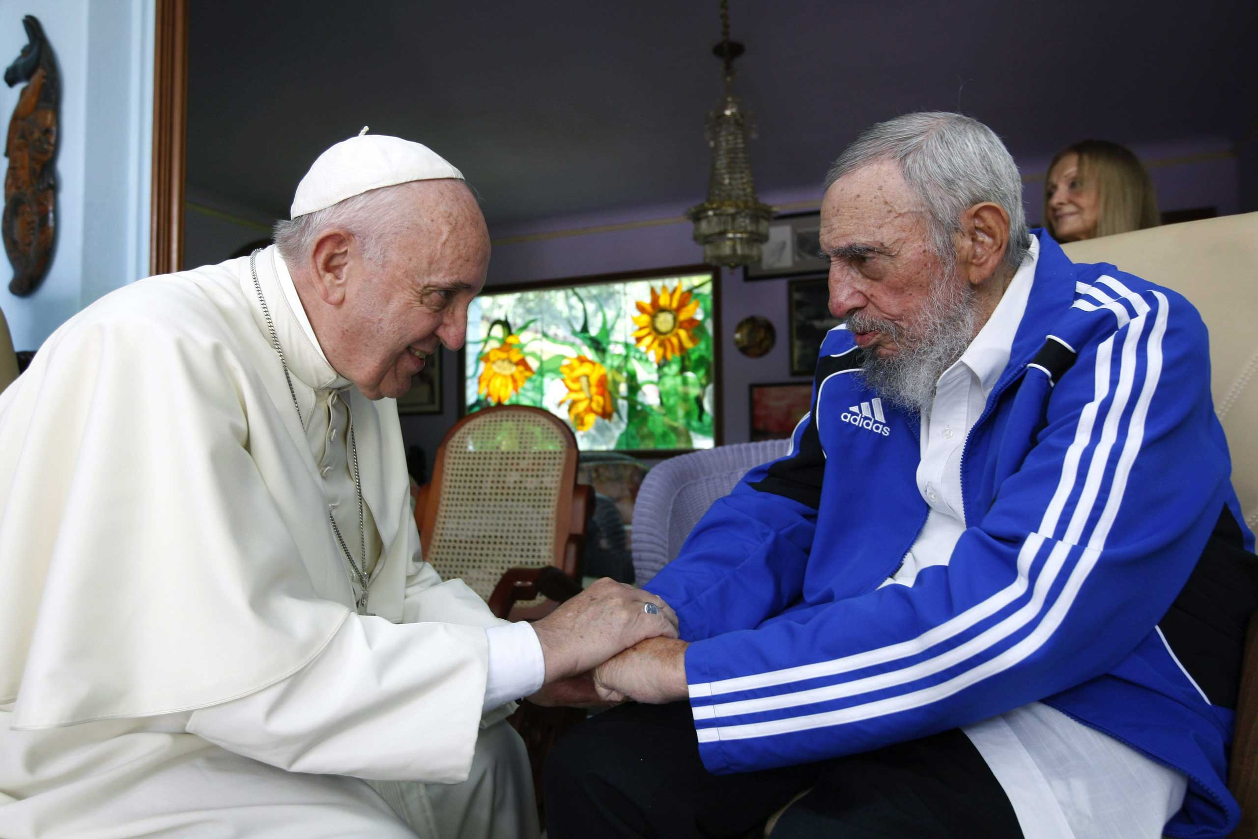 Pope Francis and former President of Cuba Fidel Castro during their meeting at Castro's residence in Havana, on Sept. 20, 2015.