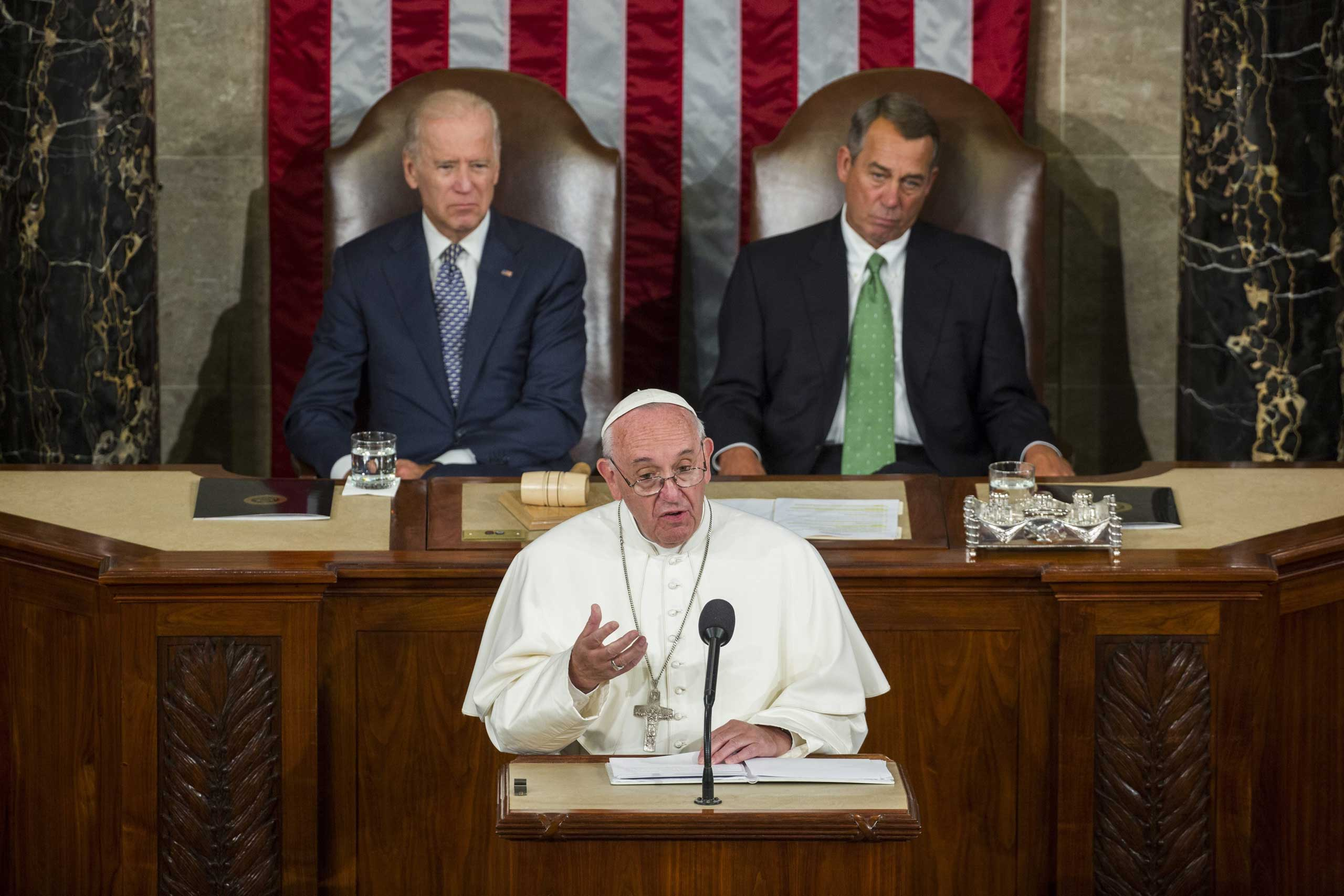 Pope Francis, addressed a joint meeting of the U.S. Congress with with Vice President Joe Biden and Speaker of the House John Boehner in the House Chamber of the U.S. Capitol in Washington, on Sept. 24, 2015, urging legislators to work together to solve problems and avoid polarization