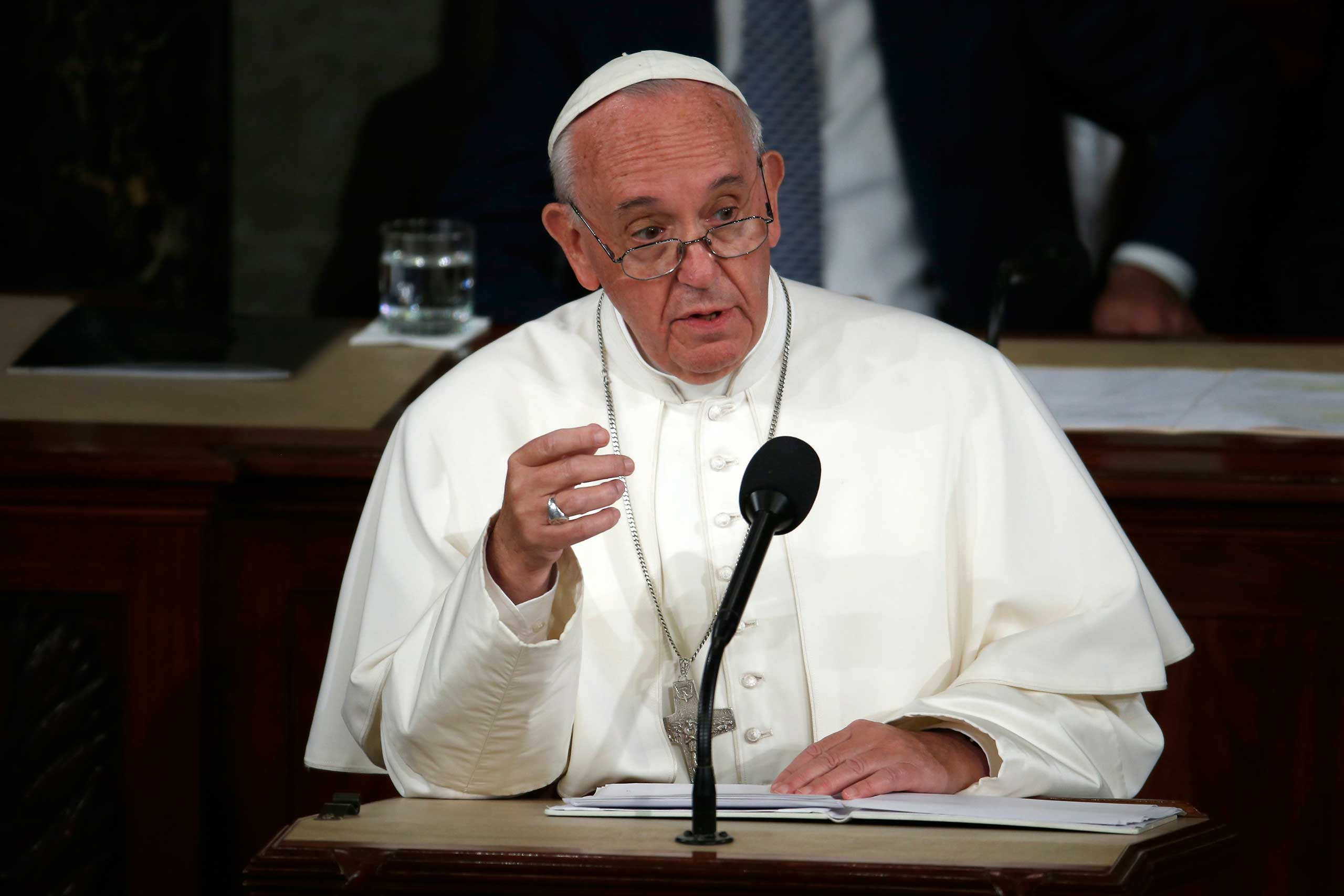 Pope Francis addresses a joint meeting of Congress on Capitol Hill  in Washington, making history as the first pontiff to do so, Sept. 24, 2015,
