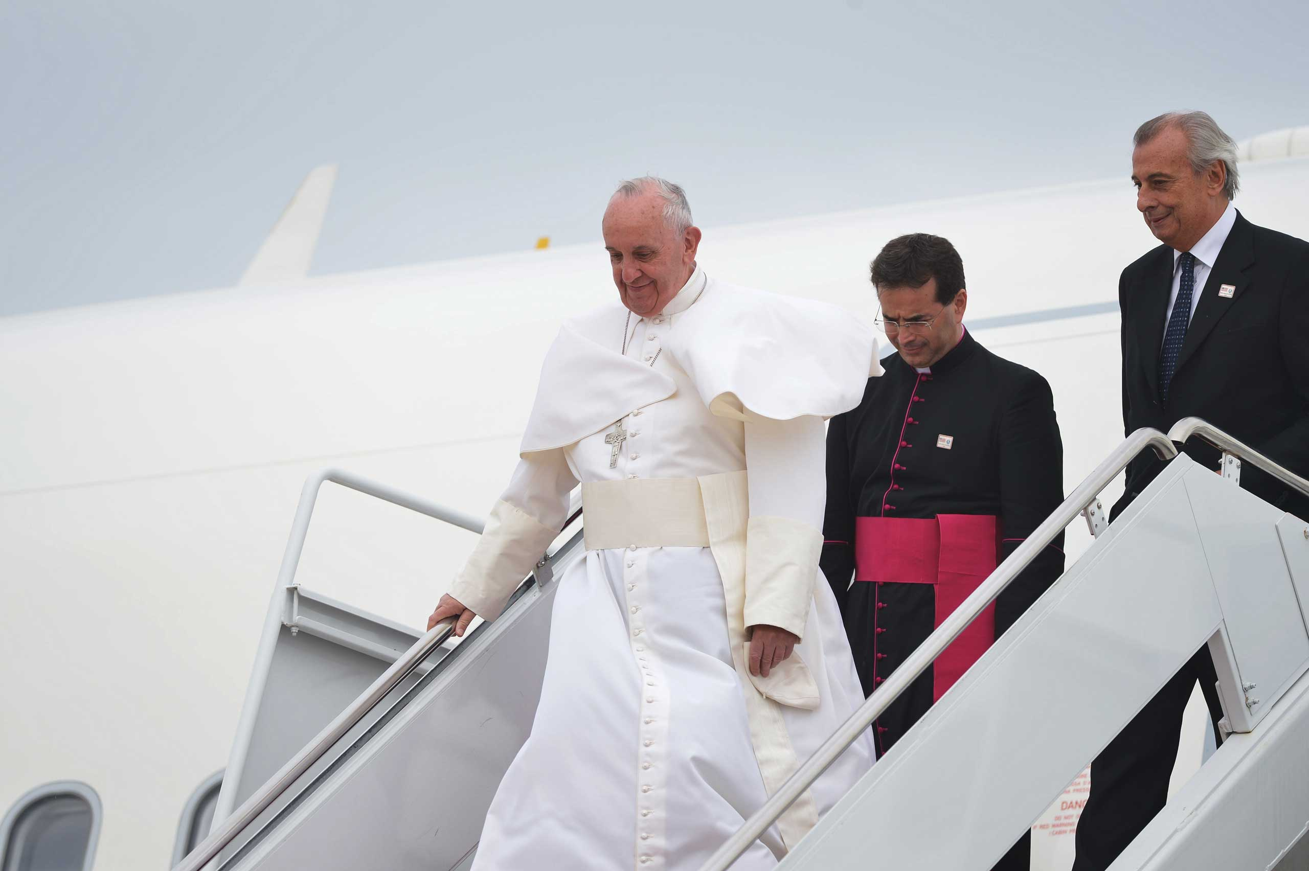 Pope Francis steps off his plane at Andrews Air Force Base in Md., on Sept. 22, 2015.