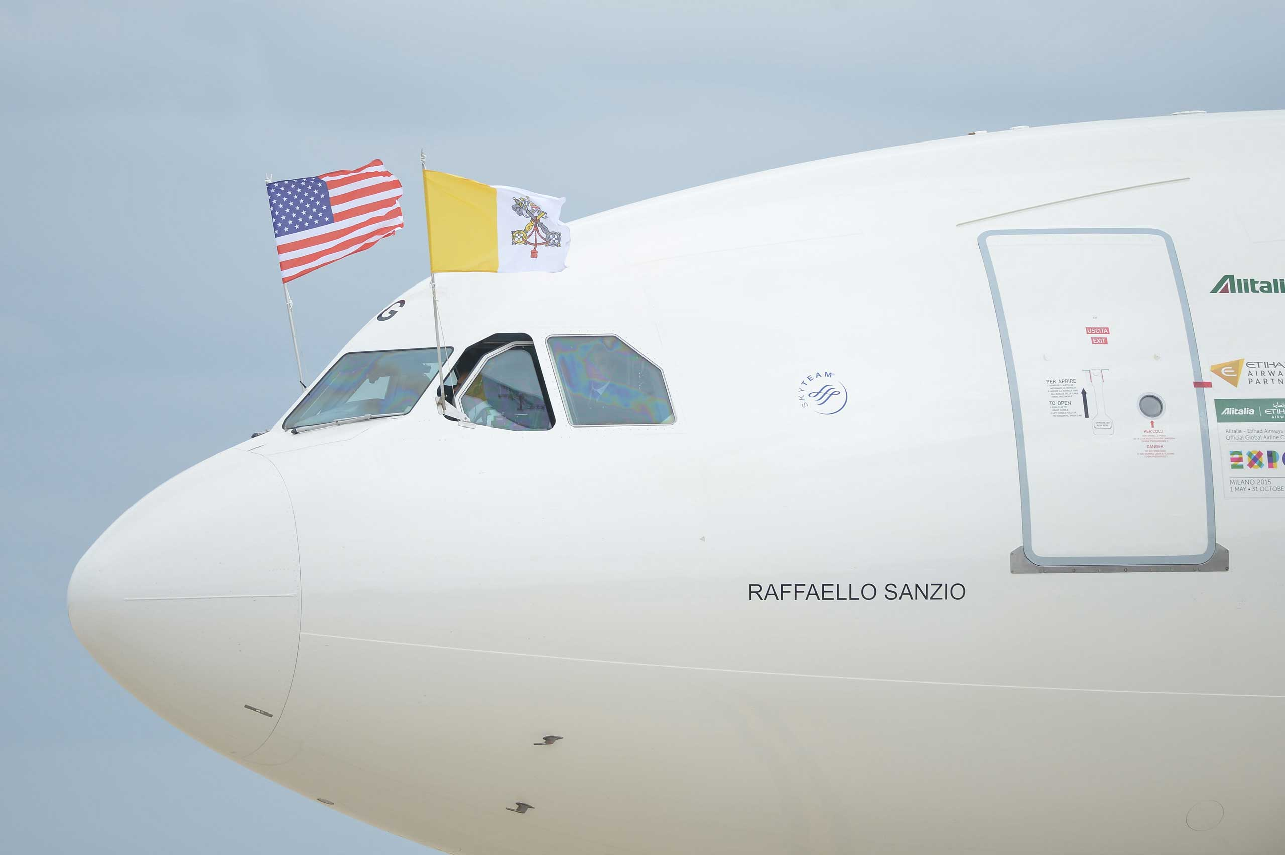 Pope Francis arrives at Andrews Air Force Base in Md., on Sept. 22, 2015.