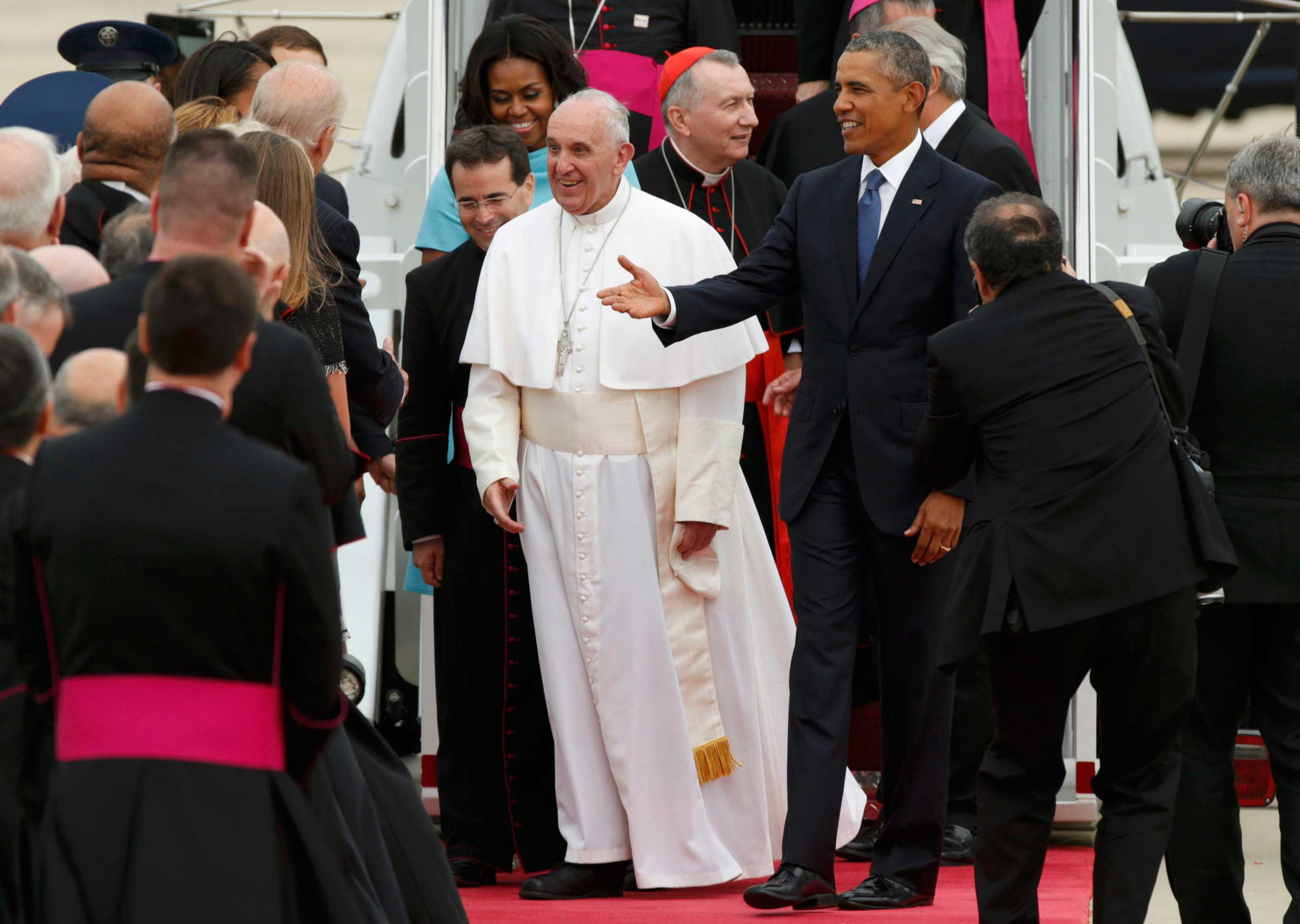 President Barack Obama welcomes Pope Francis to the United States as the Pontiff greets dignitaries upon his arrival at Joint Base Andrews outside Washington, on Sept. 22, 2015.
