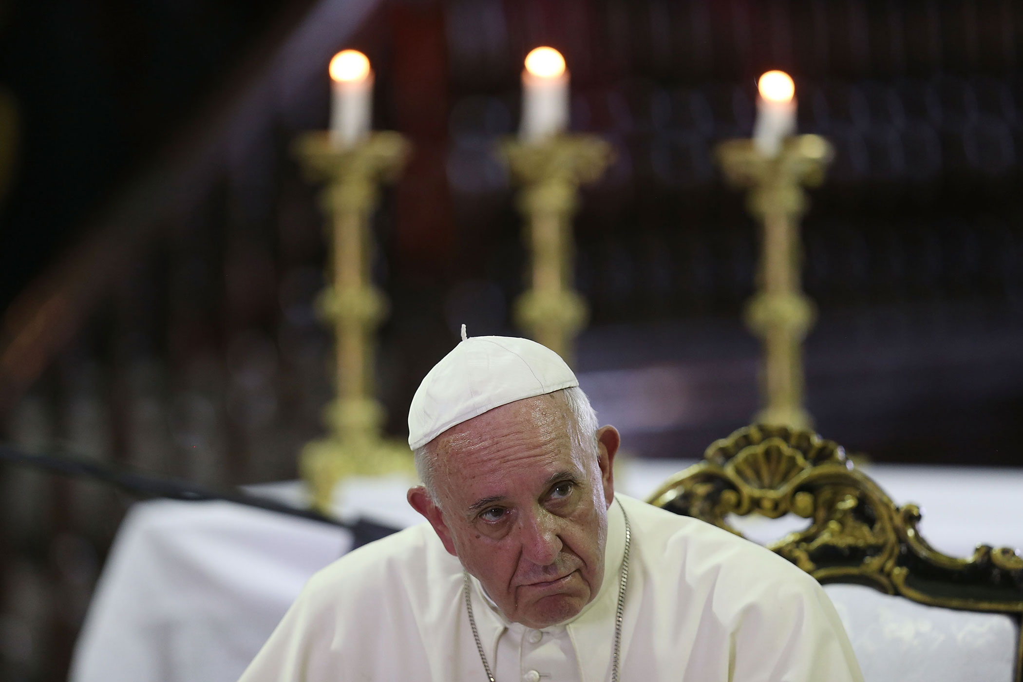Pope Francis at a mass at the Cathedral of Our Lady of Assumption  on Sept. 22, 2015 in Santiago de Cuba, Cuba.