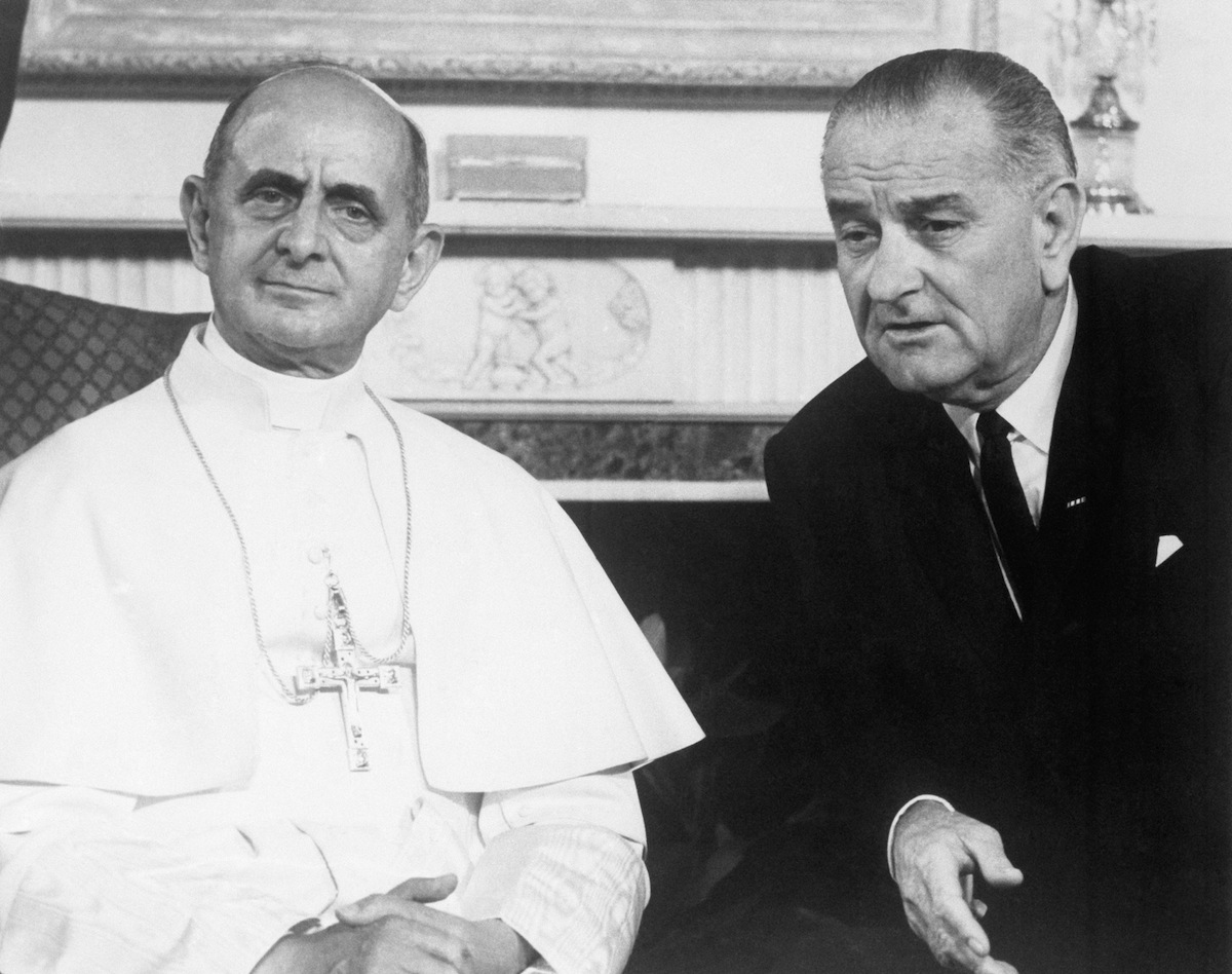 Paul VI with Lyndon Johnson in New York City on Oct. 6, 1965.