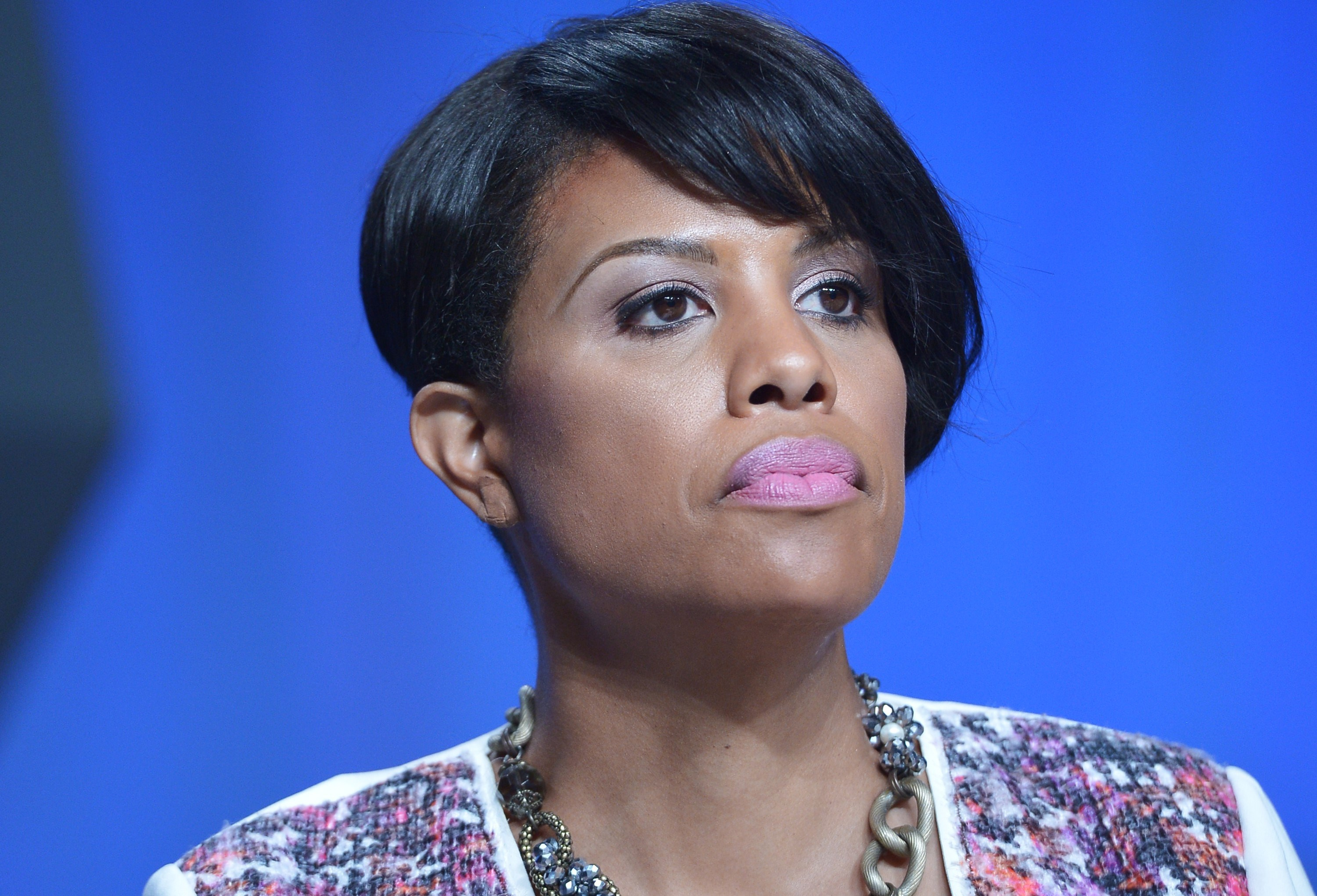 US Conference of Mayors Vice President, Stephanie Rawlings-Blake, of Baltimore, Maryland is seated before an address by US President Barack Obama to the US Conference of Mayors during their annual meeting at a hotel in San Francisco, California on June 19, 2015.